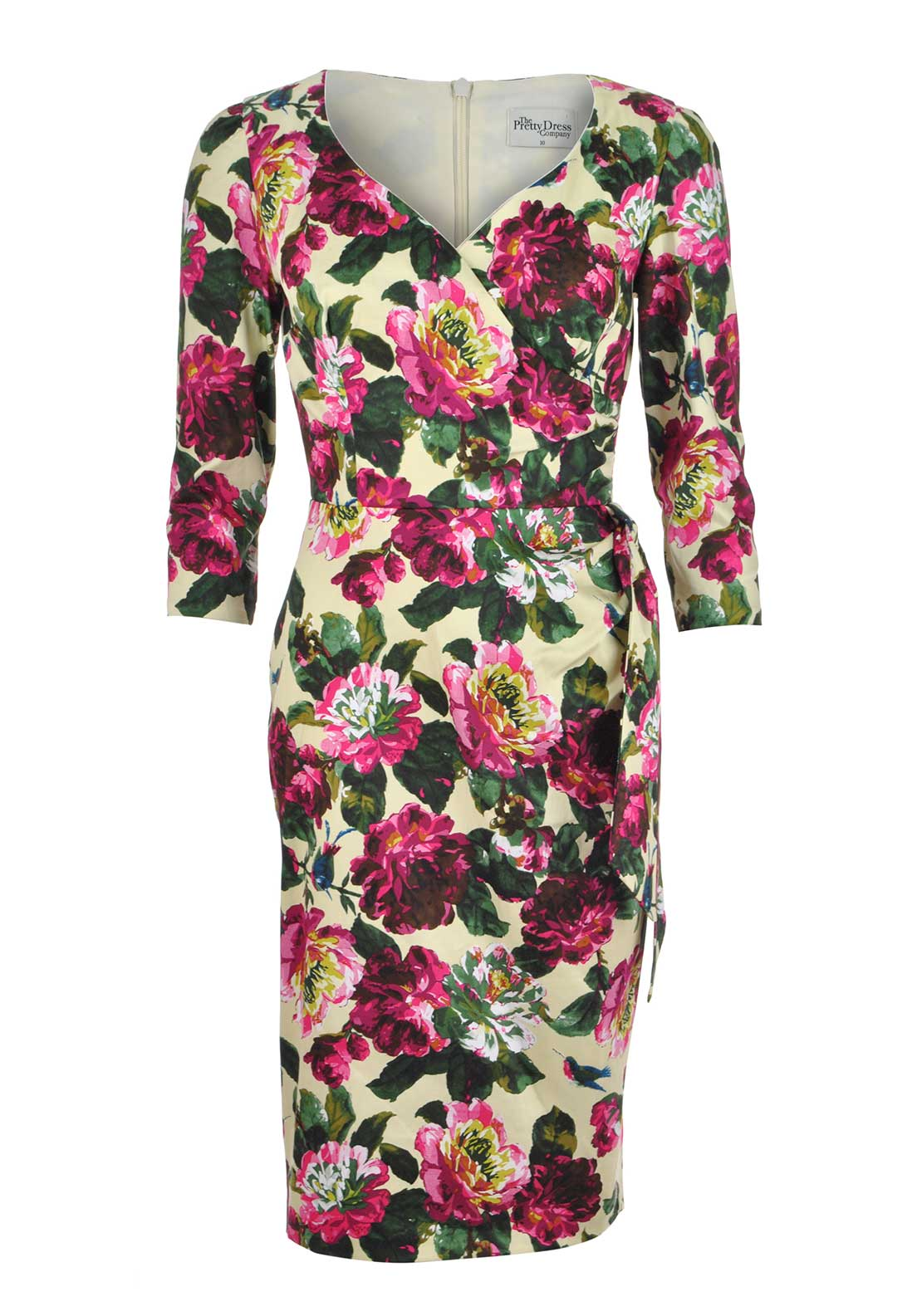 The Pretty Dress Company Hourglass Floral Print Midi Pencil Dress, Multi-Coloured