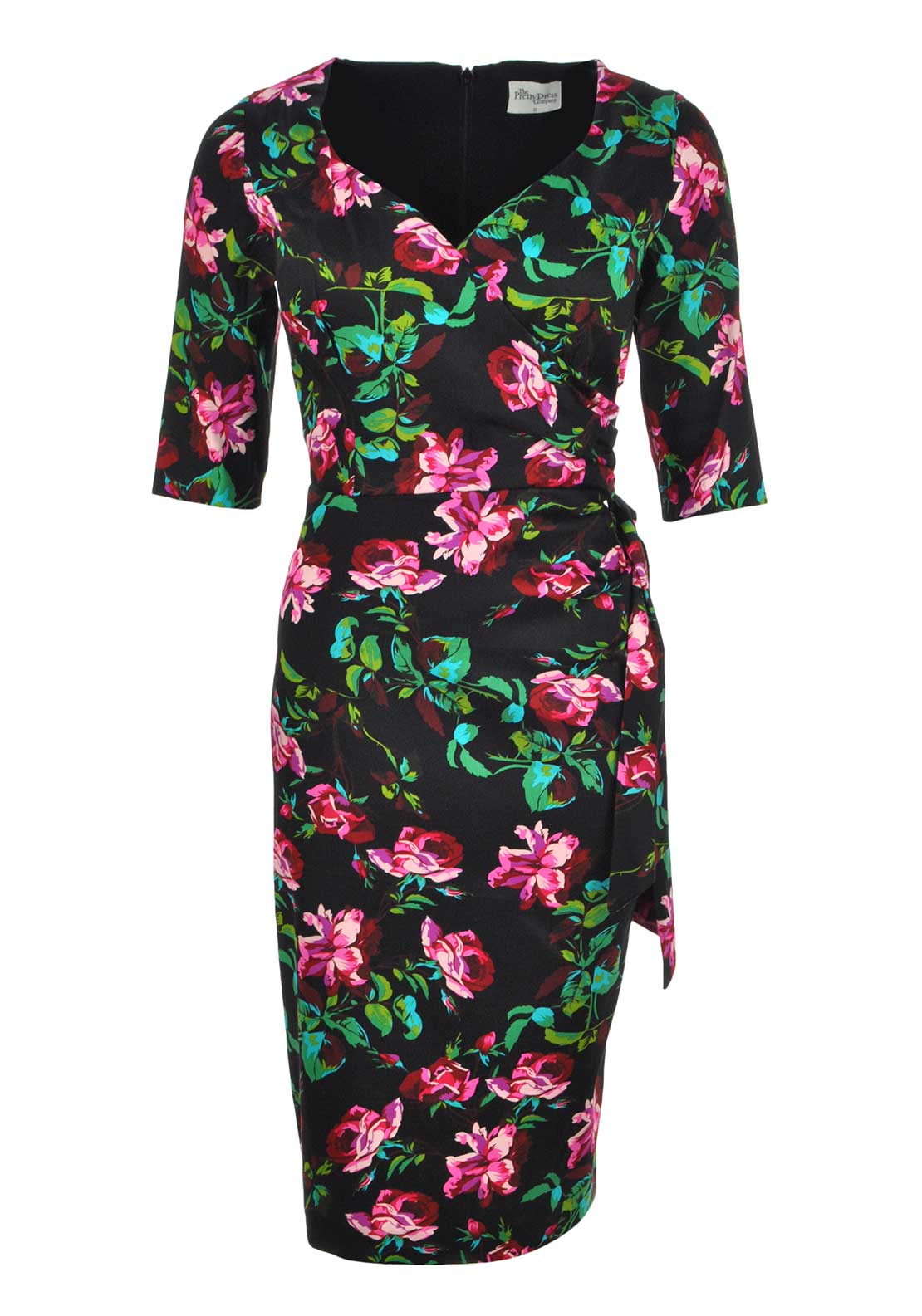 The Pretty Dress Company Hourglass Cropped Sleeve Pencil Dress, Thorny Rose