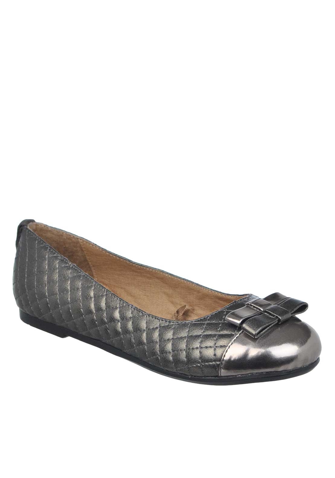 Mayoral Girls Metallic Quilted Bow Pumps, Pewter