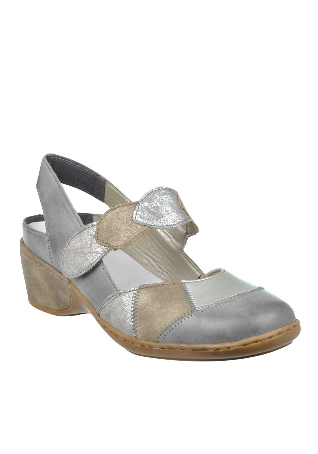 Rieker Womens Sling Back Leather Shoe, Grey