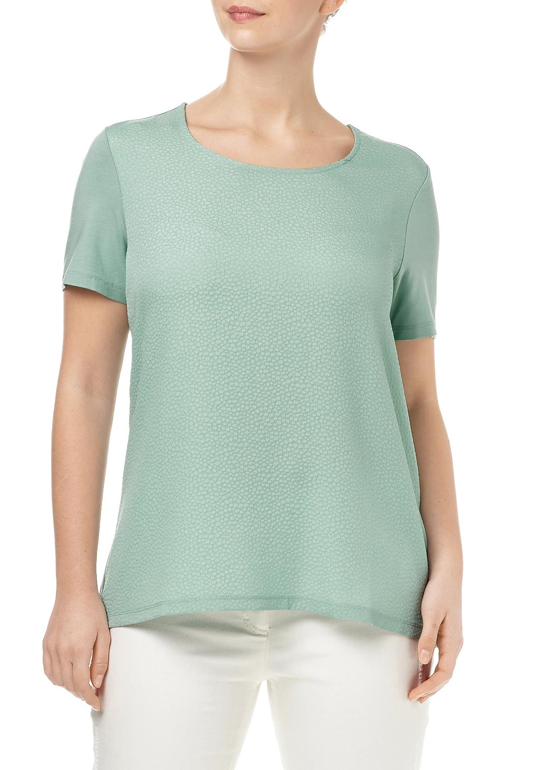 Samoon Embossed Print Relaxed Fit Short Sleeve Top, Mint Green