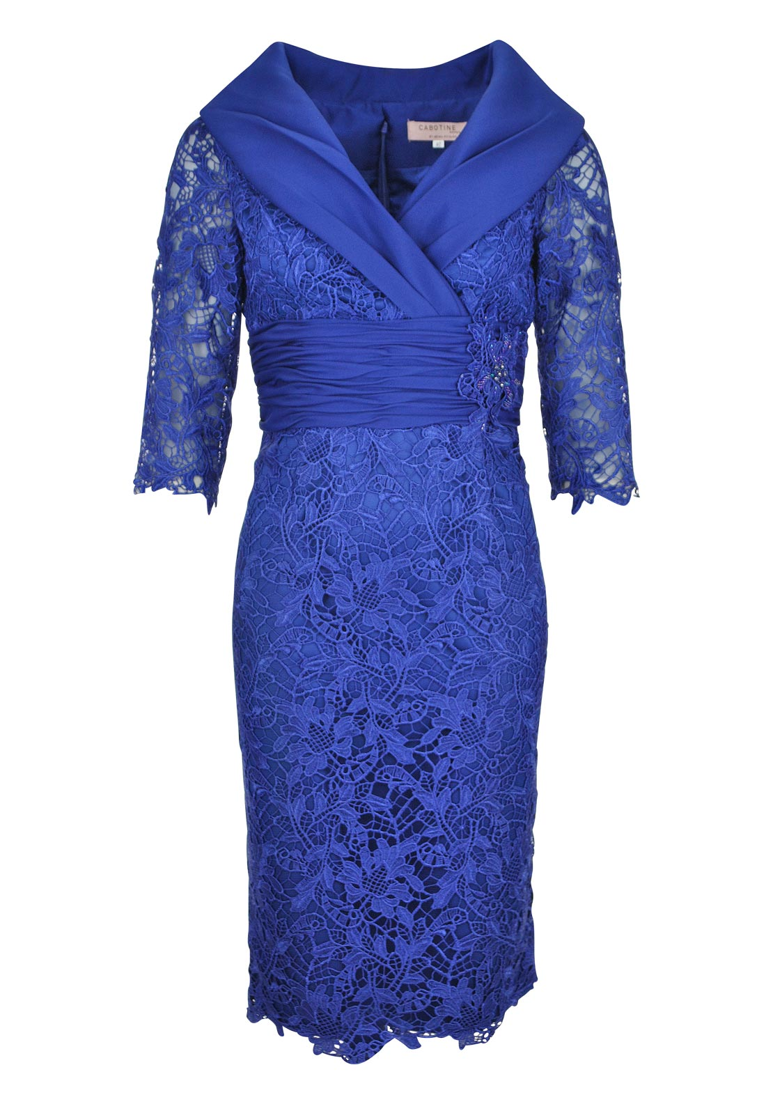 Cabotine Occasion Wear Lace Shawl Collared Dress, Blue