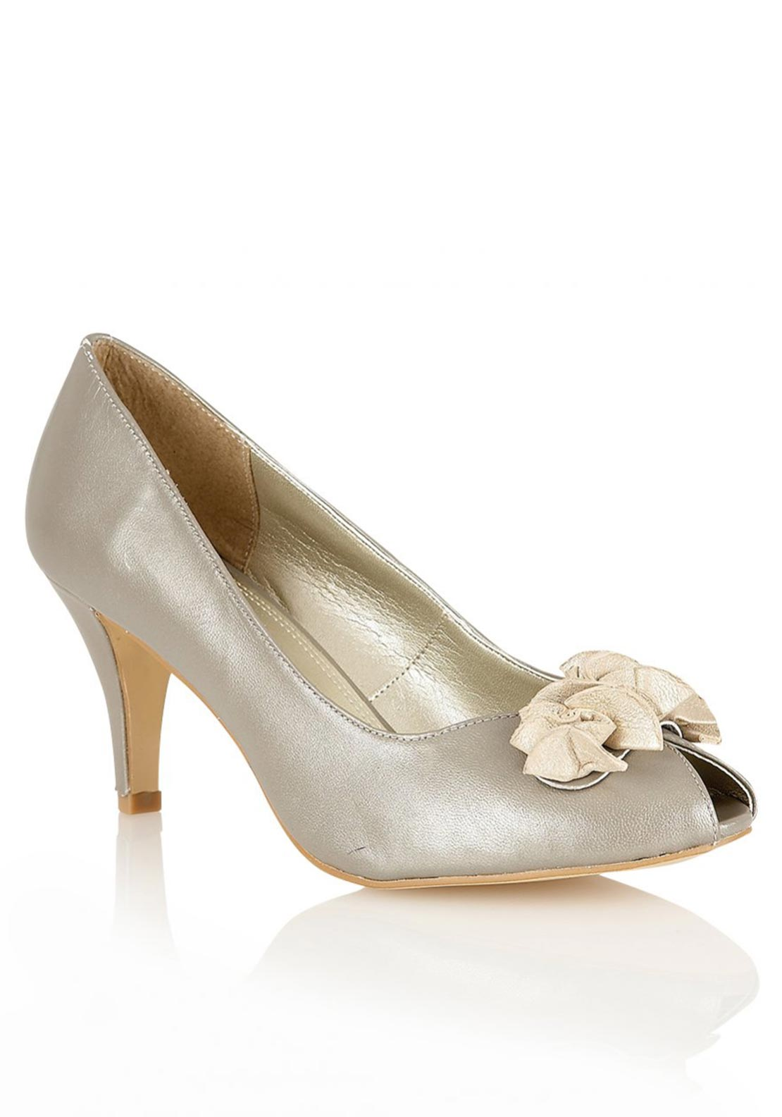 Lotus Womens Leather Ruffle Detail Peep Toe Heeled Shoes, Gold
