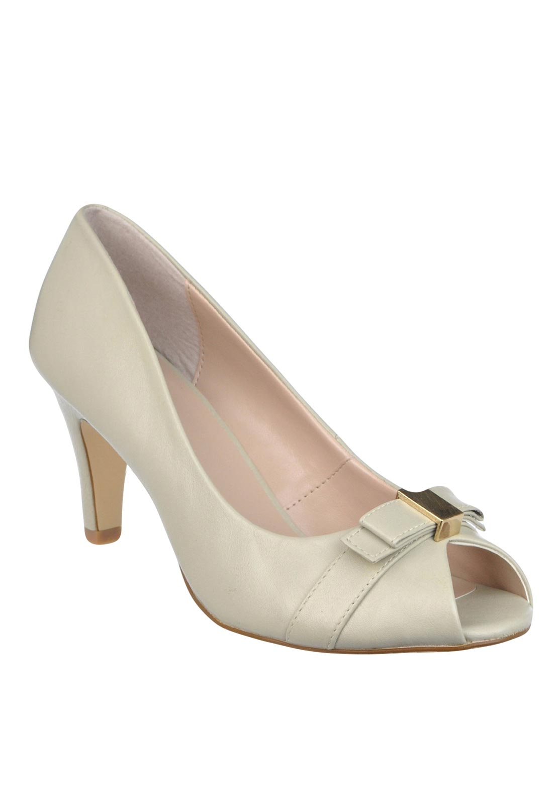 Lotus Leather Peep Toe Bow Heeled Shoes, Beige