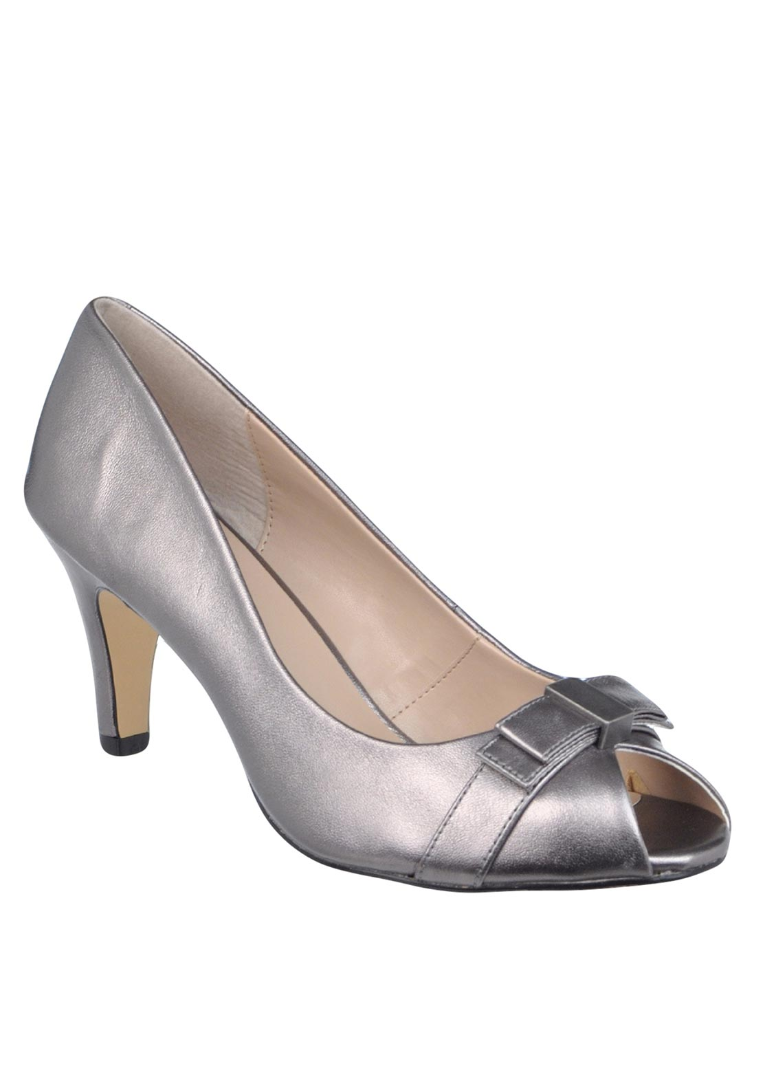 Lotus Leather Peep Toe Bow Heeled Shoes, Pewter