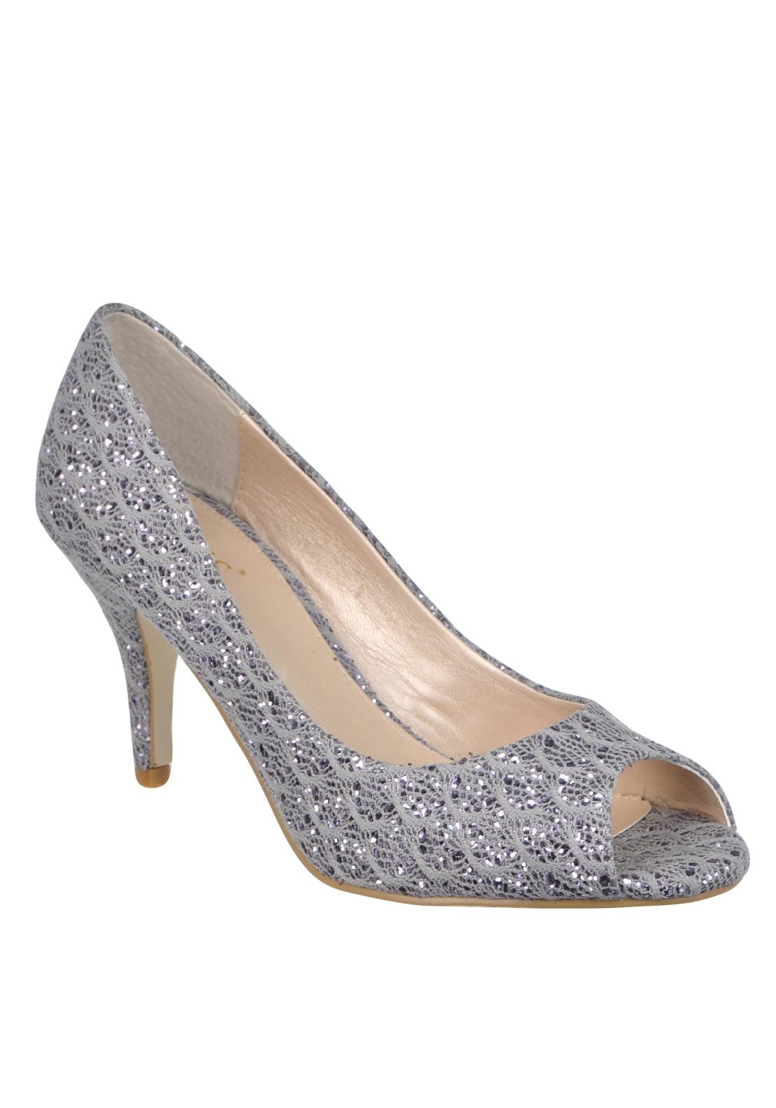 Lotus Eva Glitter Peep Toe Heeled Shoes, Grey