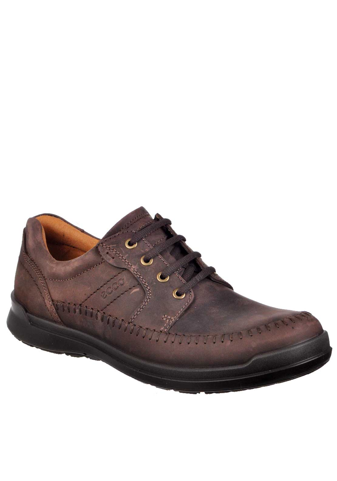 Ecco Mens Howell Lace Up Leather Shoe, Mocha Brown