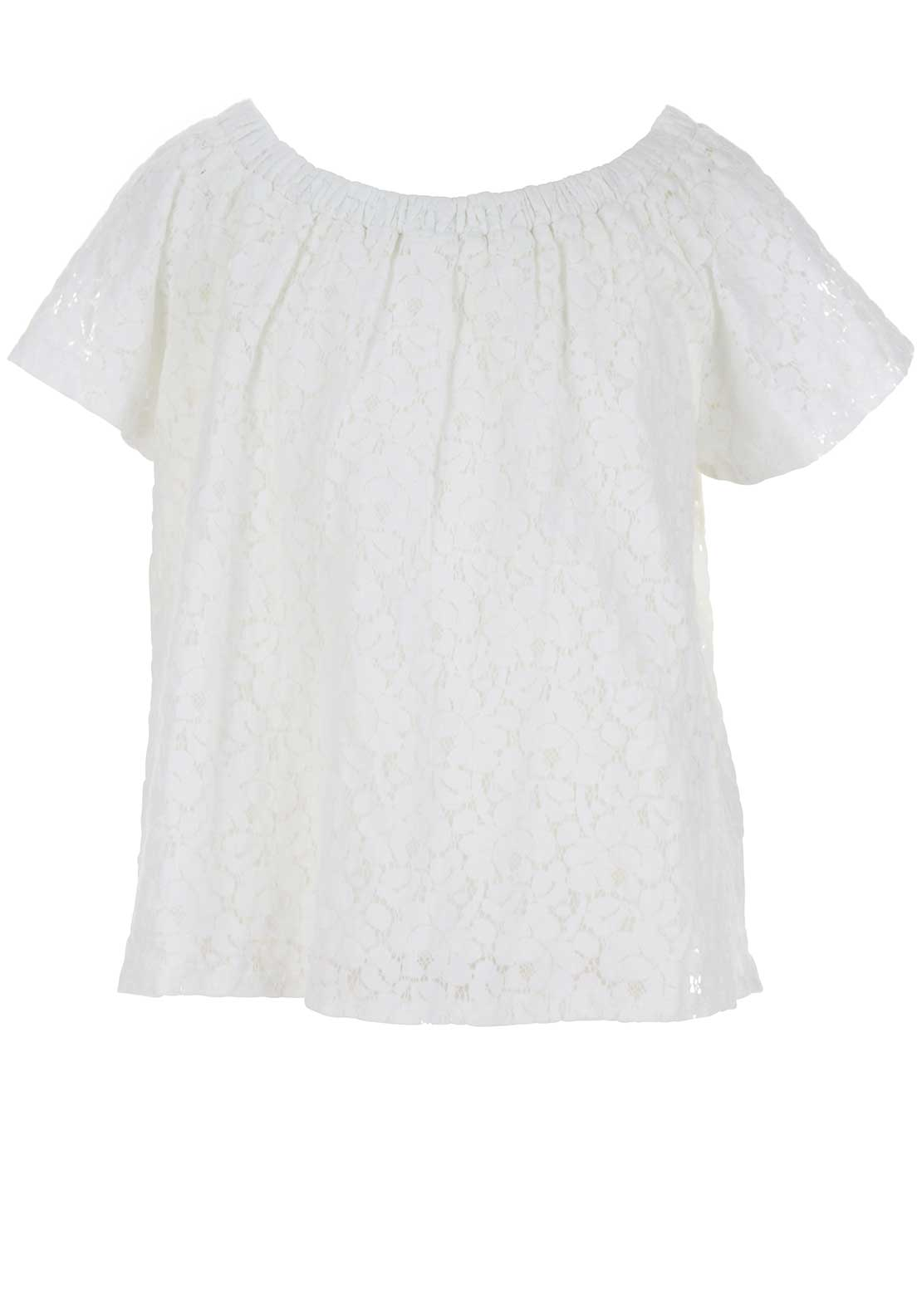 Blue Seven Lace Overlay Bardot Top, White