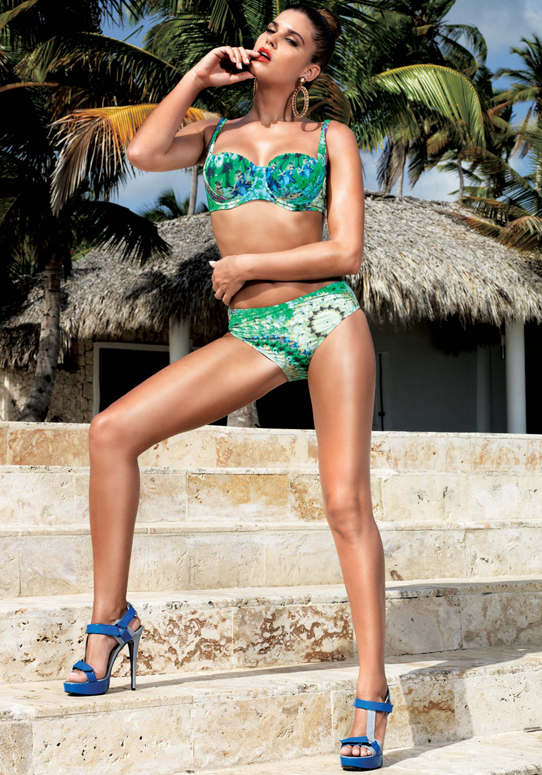 David Swimwear Flower Spring Print Bikini Set, Green Multi