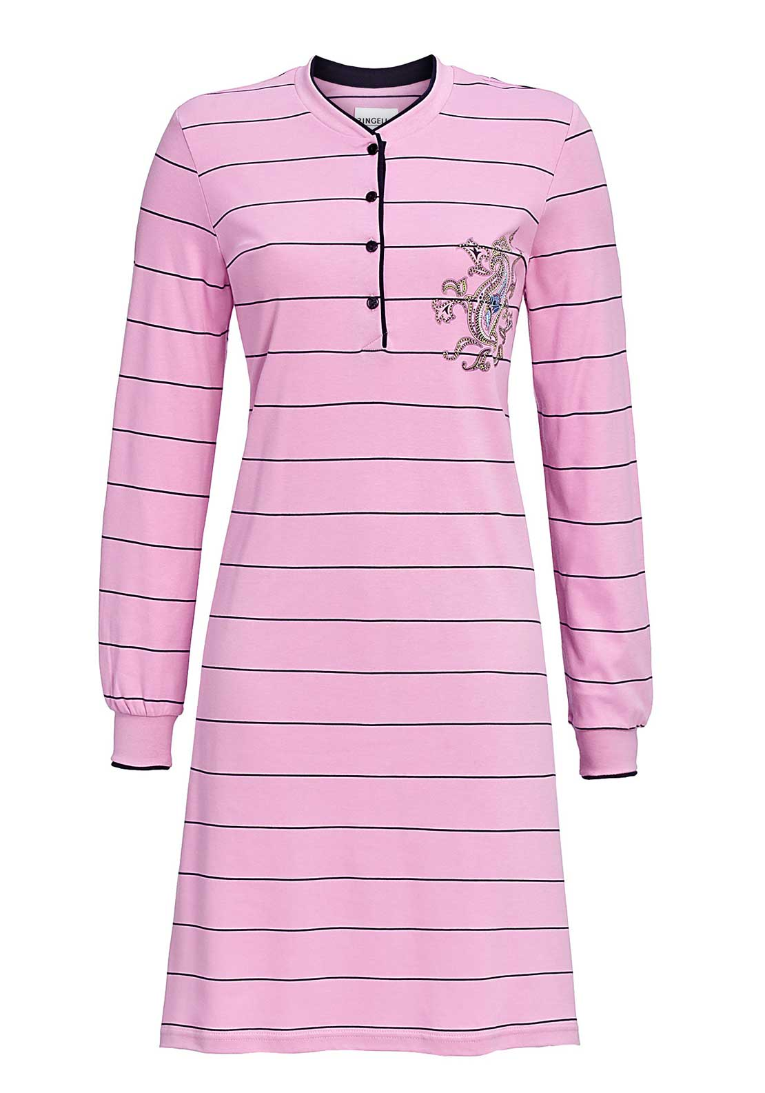 Ringella Striped Paisley Graphic Print Long Sleeve Nightdress, Pink