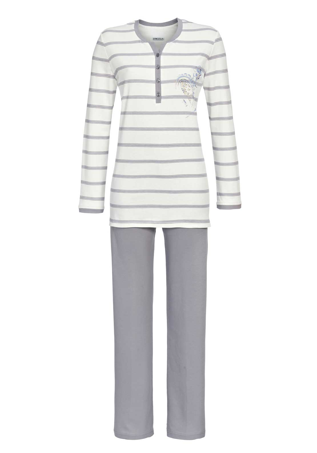 Ringella Striped Cotton Pyjama Set, White and Grey