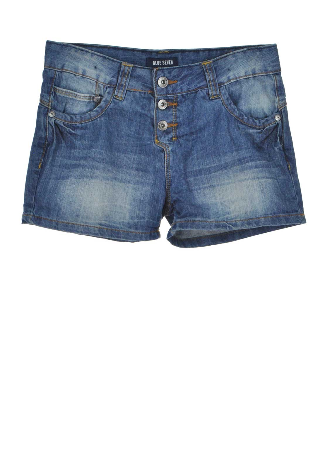 Blue Seven Girls Button Up Denim Shorts, Blue