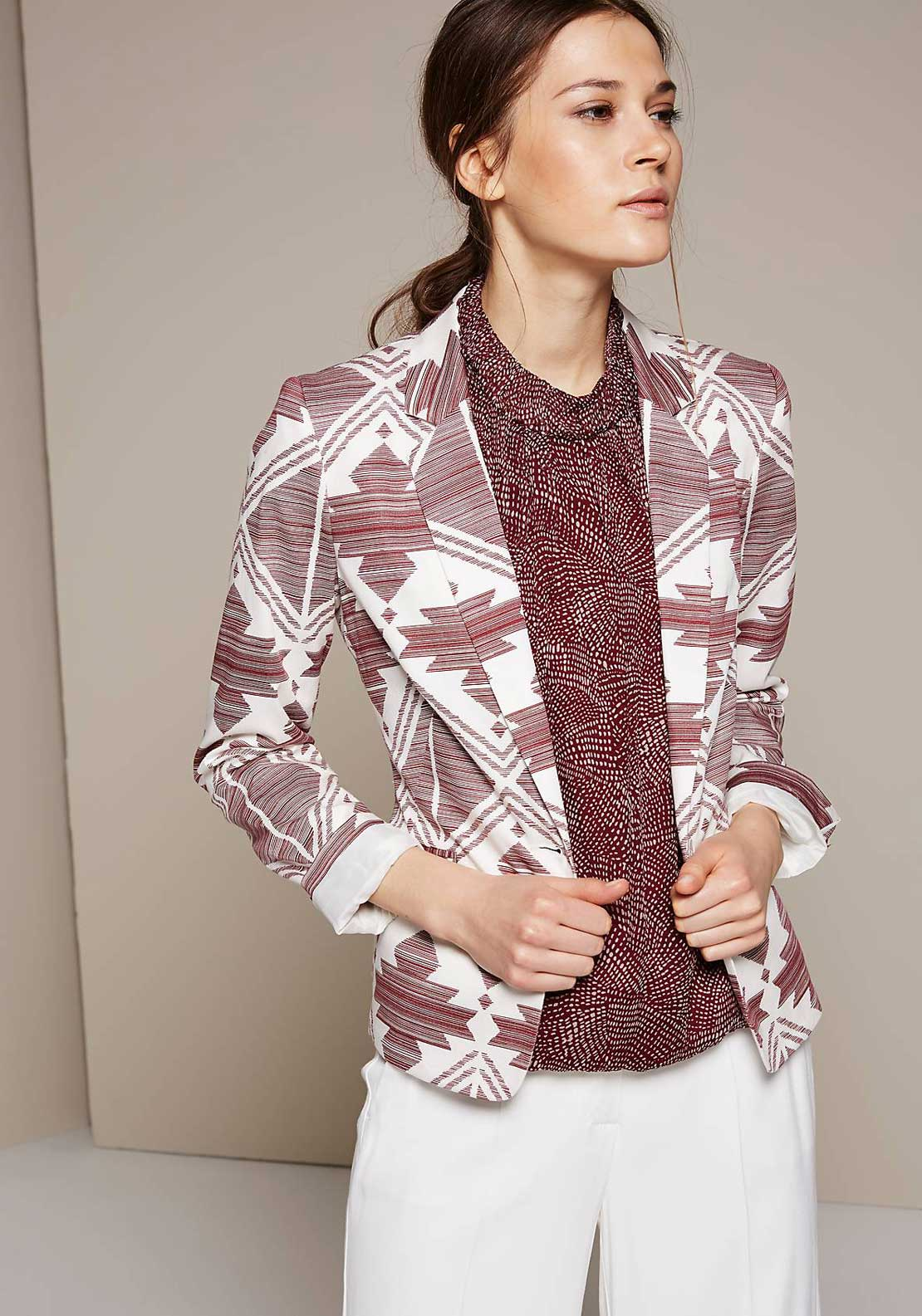 Comma Aztec Print Cotton Blazer Jacket, Berry and White