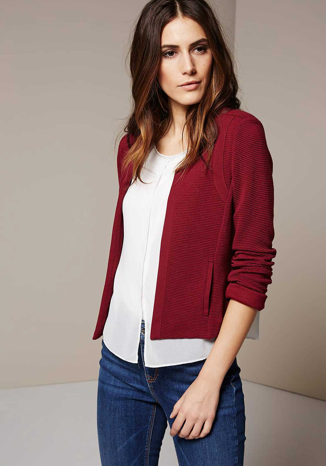 Comma Ribbed Jersey Jacket, Berry Red