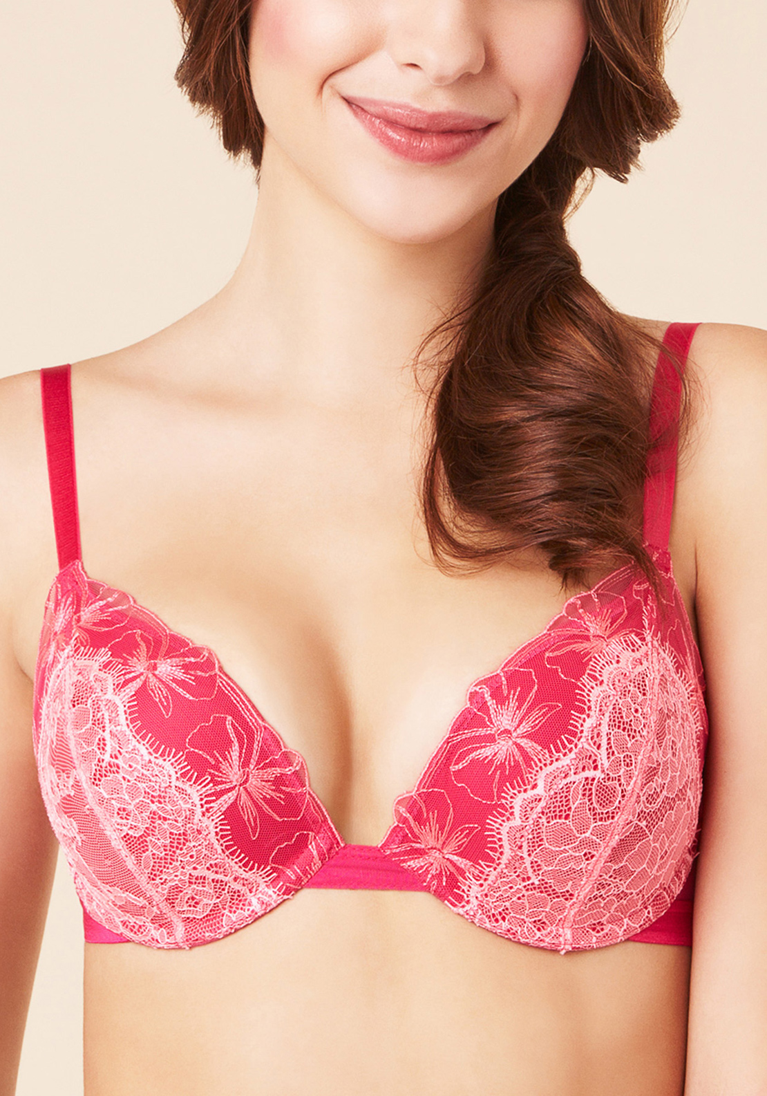Passionata Double Je Push Up Bra, Raspberry