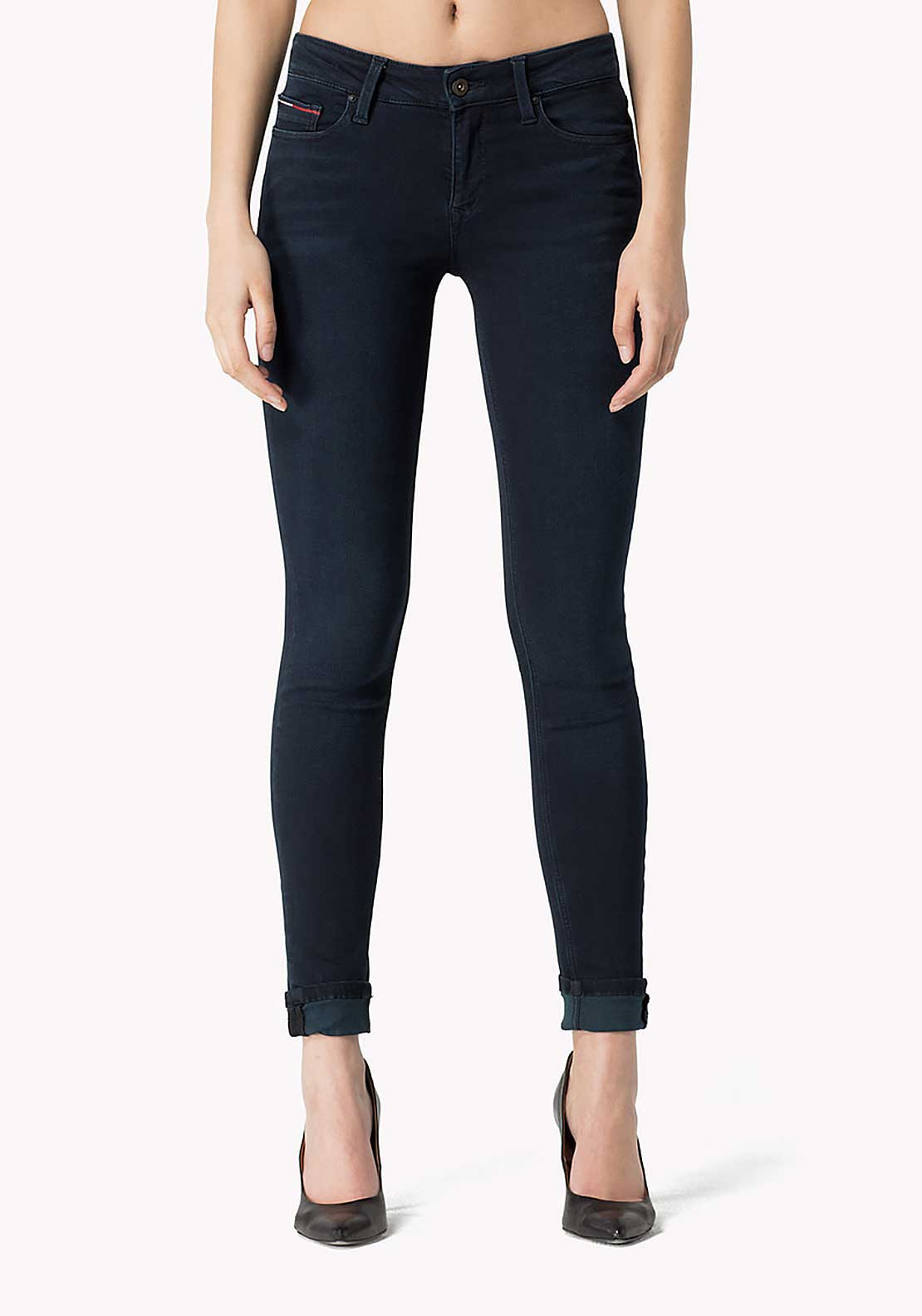 Tommy Hilfiger Womens Nora Mid Rise Skinny Jeans, Navy