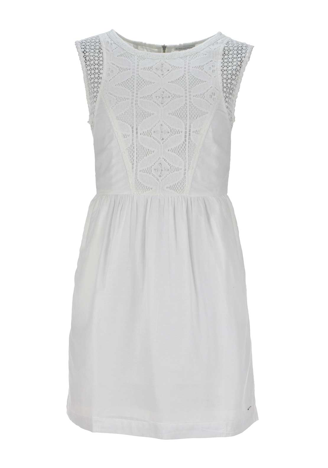 Tommy Hilfiger Womens Sleeveless Lace Panel Dress, White