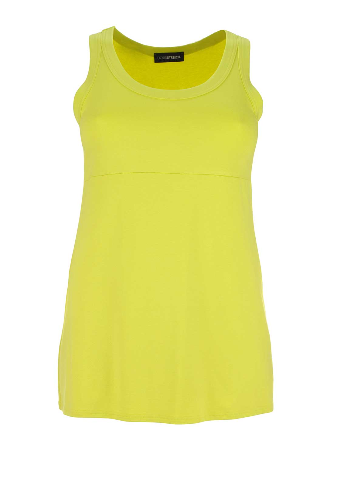 Doris Streich Long Length Sleeveless Vest Top, Lime Green