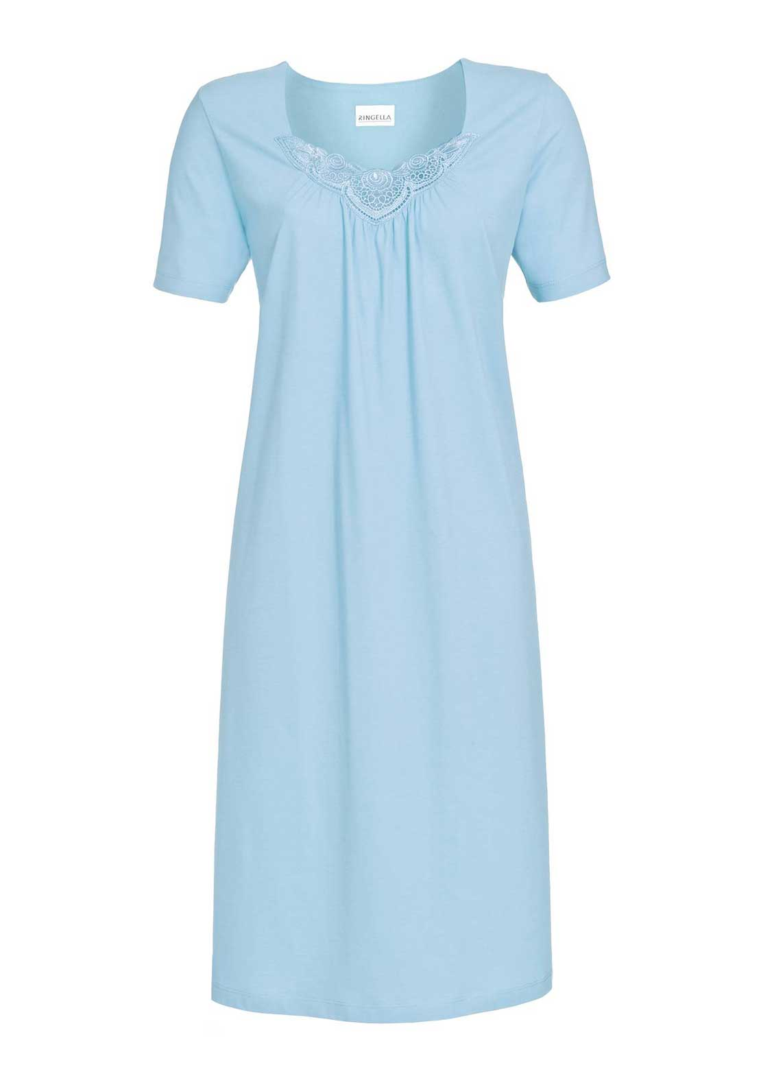 Ringella Lace Trim Short Sleeve Cotton Nightdress, Blue