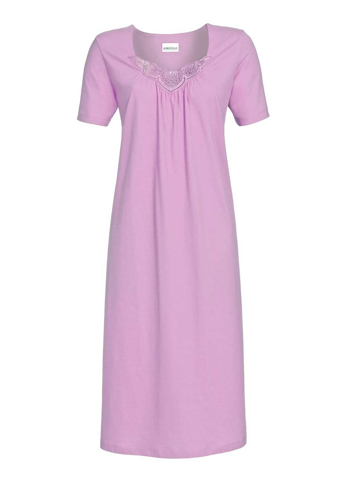 Ringella Lace Trim Short Sleeve Cotton Nightdress, Lilac