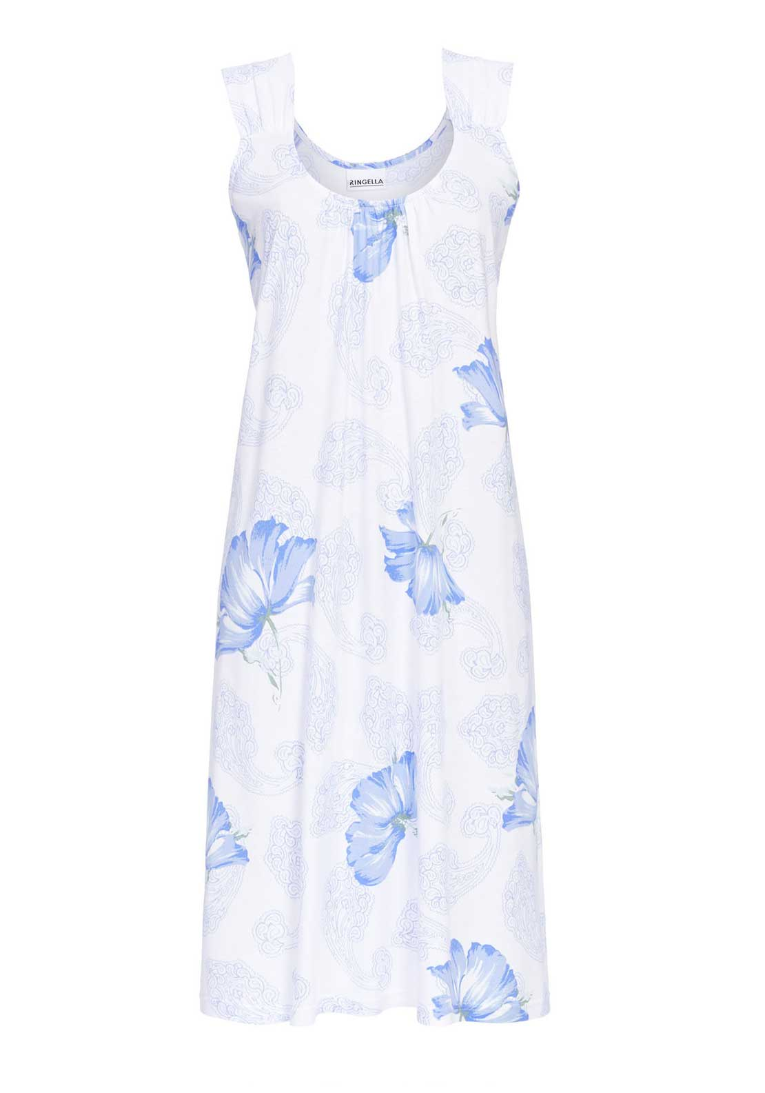 Ringella Floral Print Sleeveless Nightdress, White and Blue
