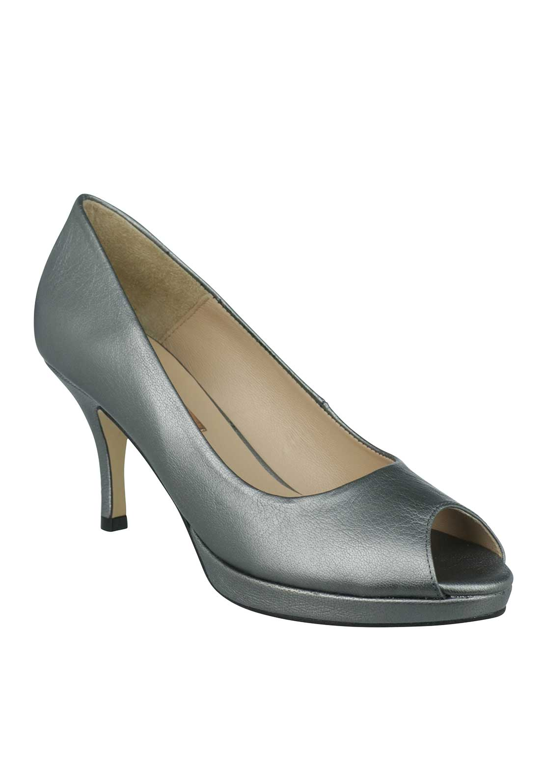 Marian Leather Peep Toe Heeled Shoes, Metallic Silver