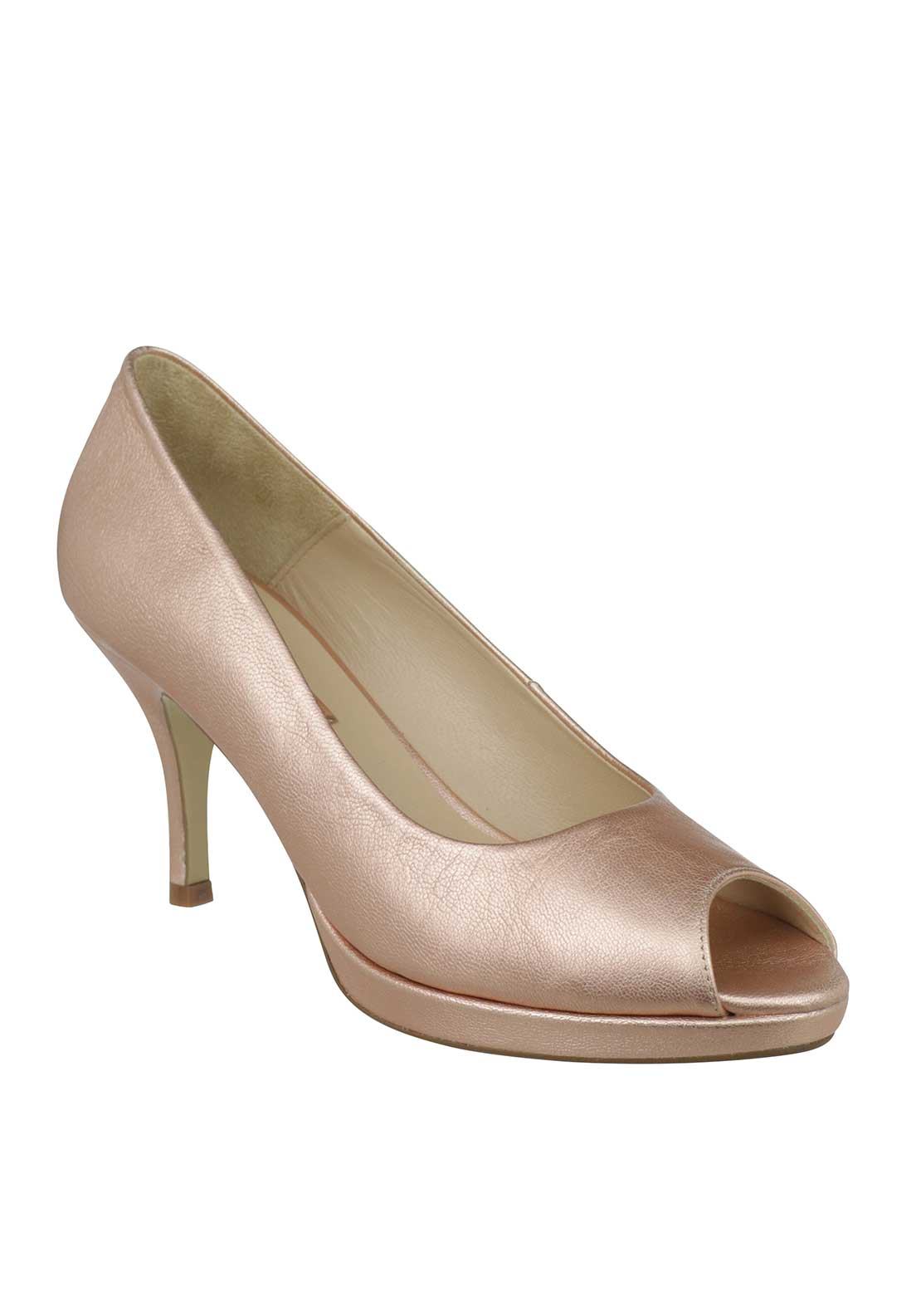 Marian Leather Peep Toe Heeled Shoes, Pink