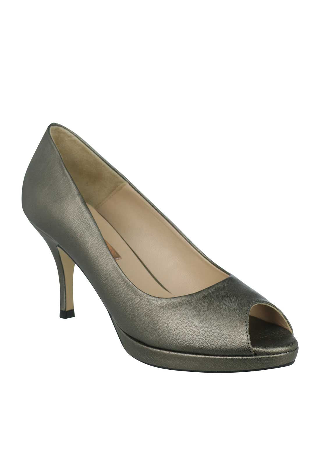 Marian Leather Peep Toe Heeled Shoes, Pewter