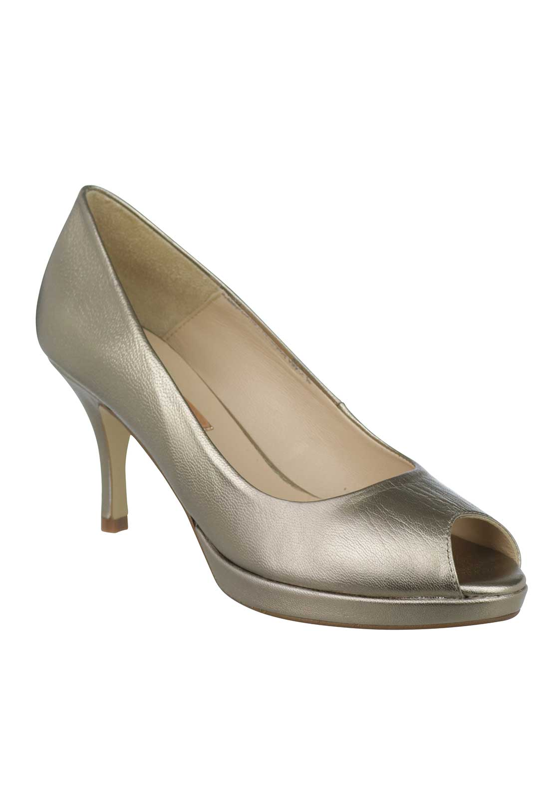 Marian Leather Peep Toe Heeled Shoes, Gold