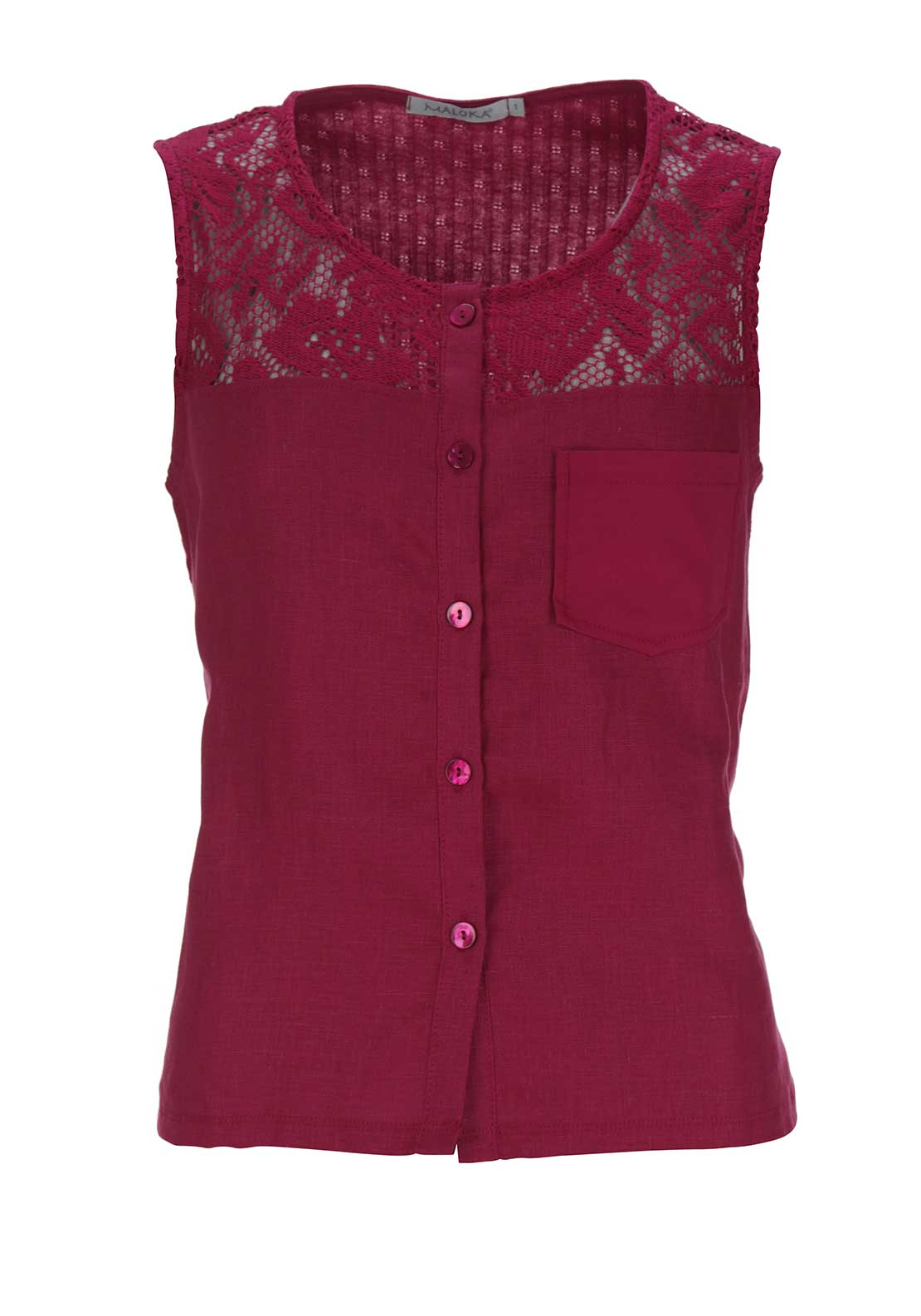 Maloka Amy Crochet Trim Button Through Sleeveless Top, Bougainvillea Pink