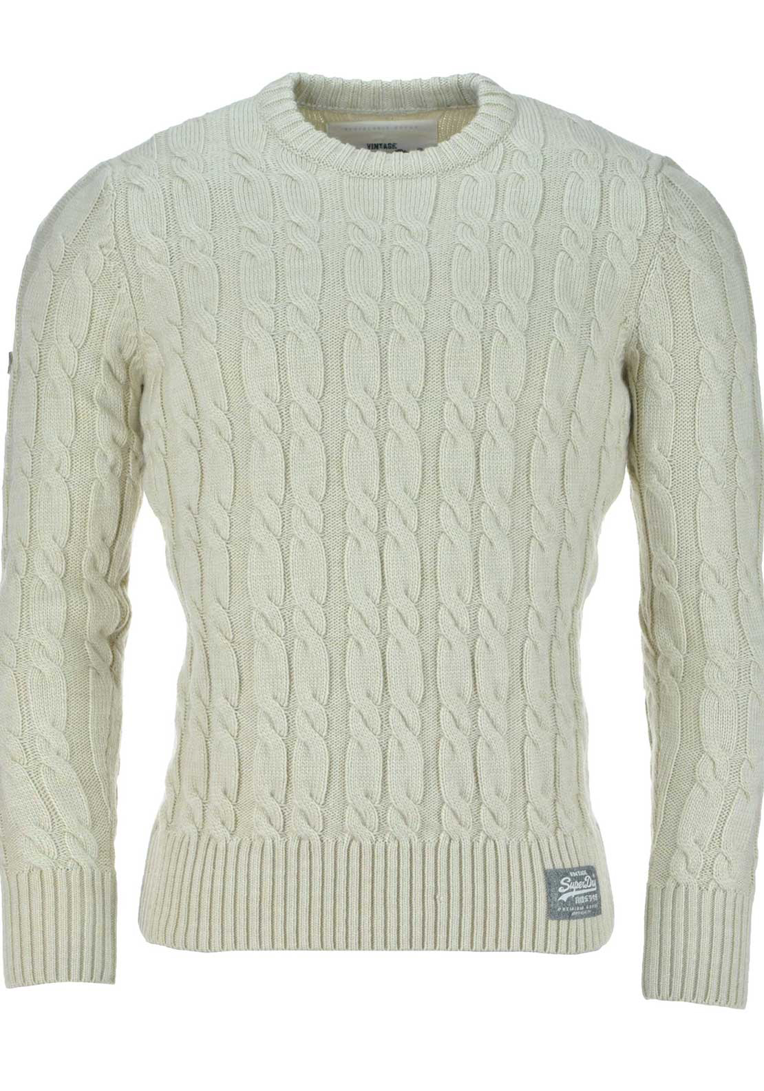 Superdry Mens Jacob Cable Knit Jumper, Cream