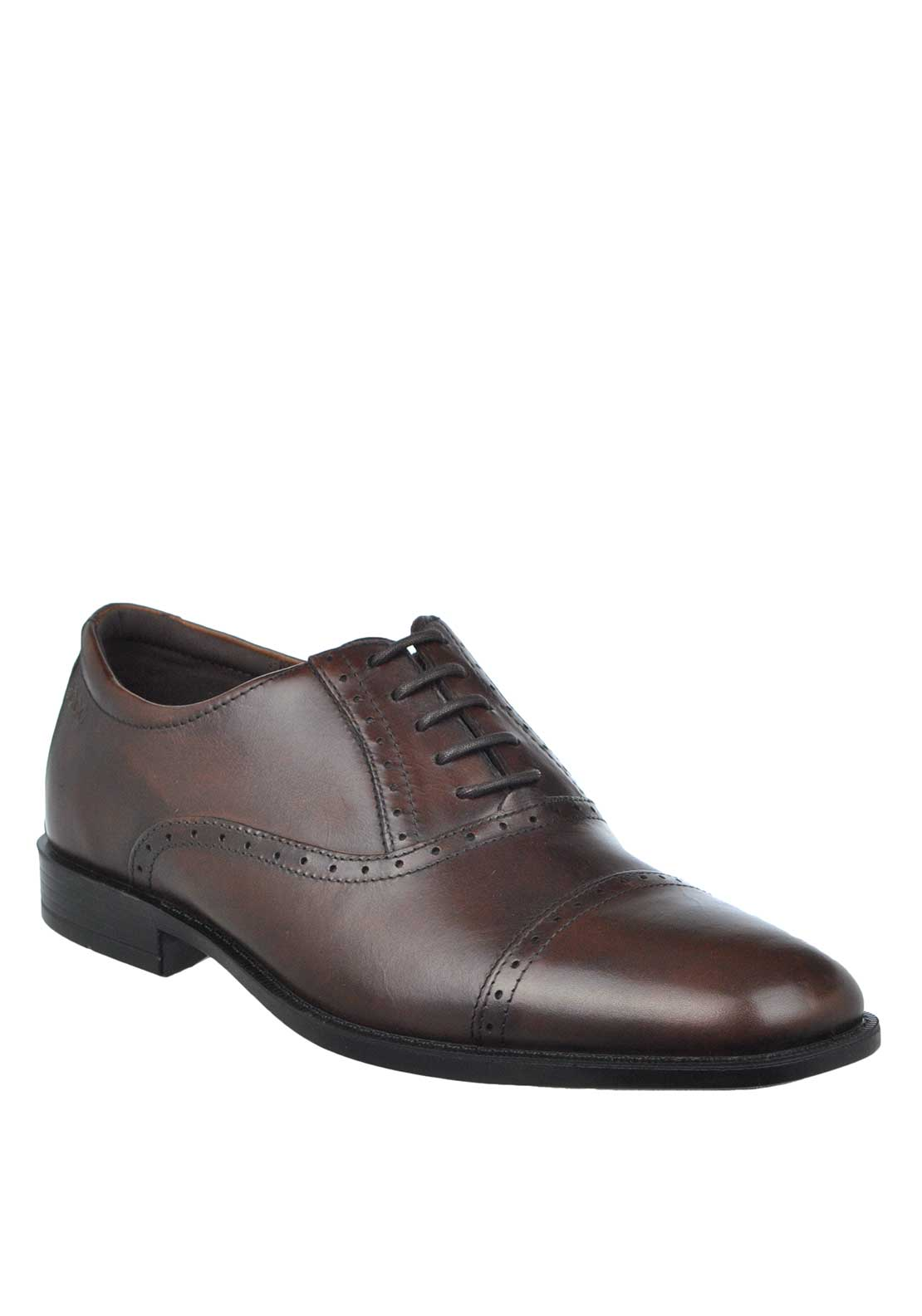 ECCO Mens Edinburgh Leather Brogue Lace Up Shoe, Mink Brown