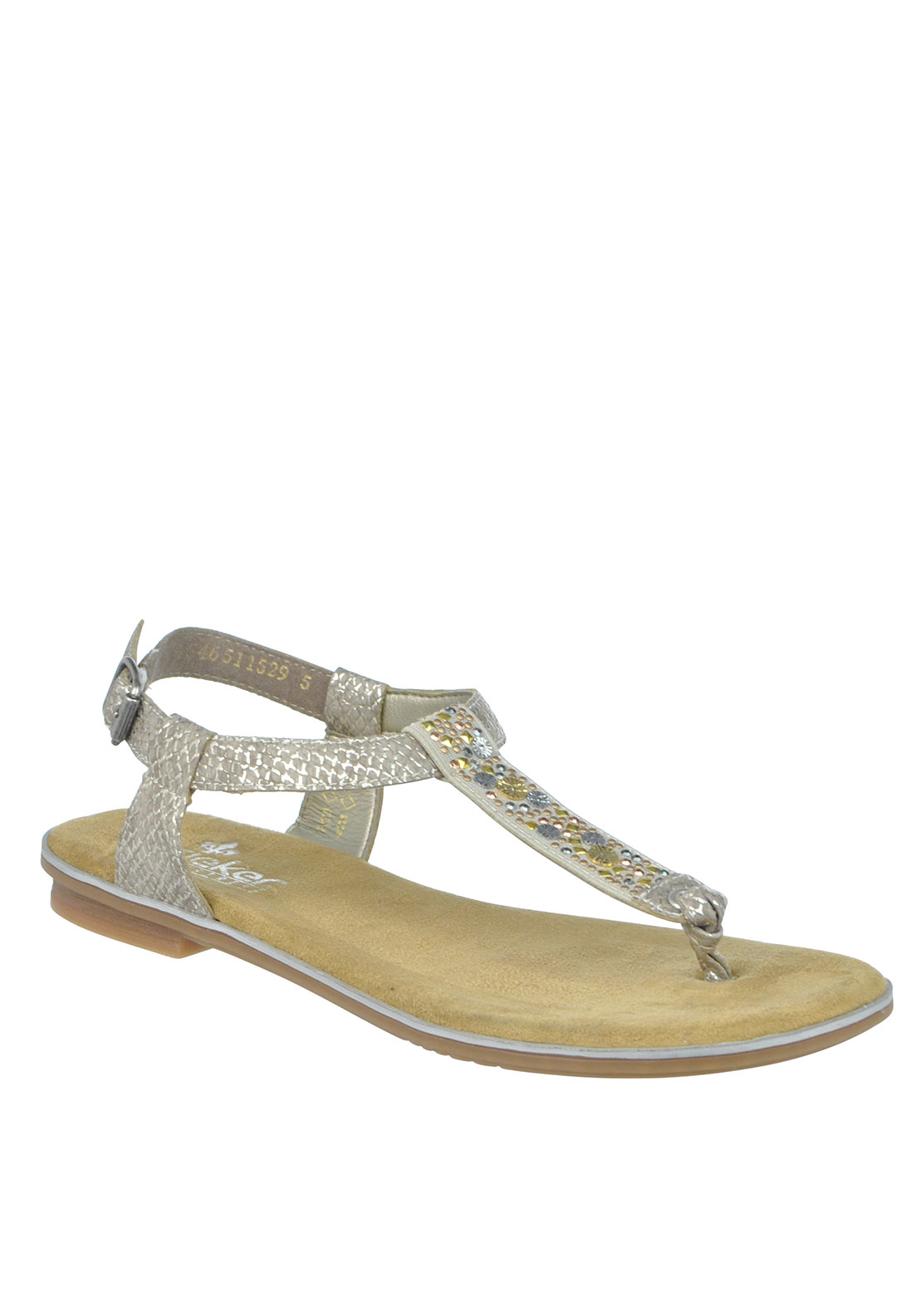 Rieker Womens Embellished Toe Thong Sandals, Grey