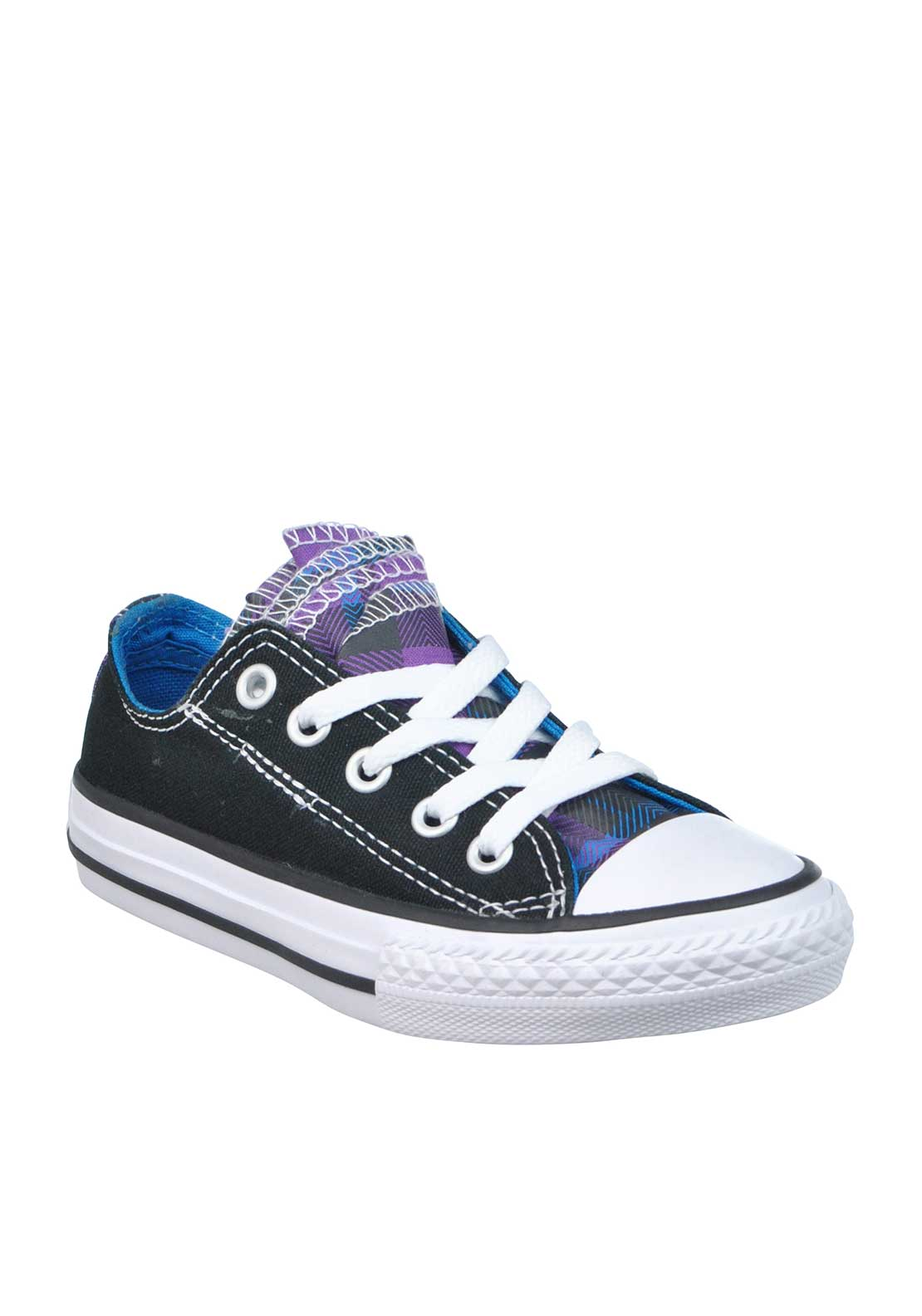 Converse Kids Tartan Layered Tongue All Star Canvas Trainers, Black Purple