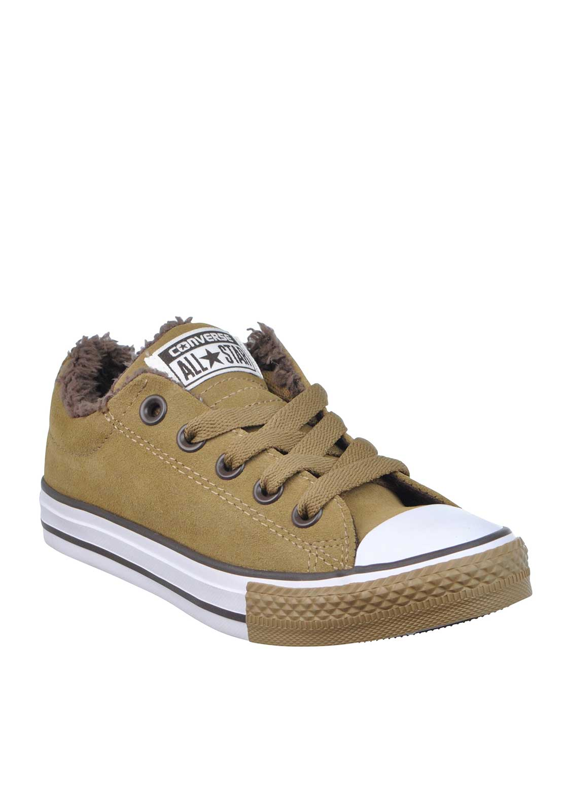 Converse Boys Suede Fleece Lined All Star Trainers, Tan