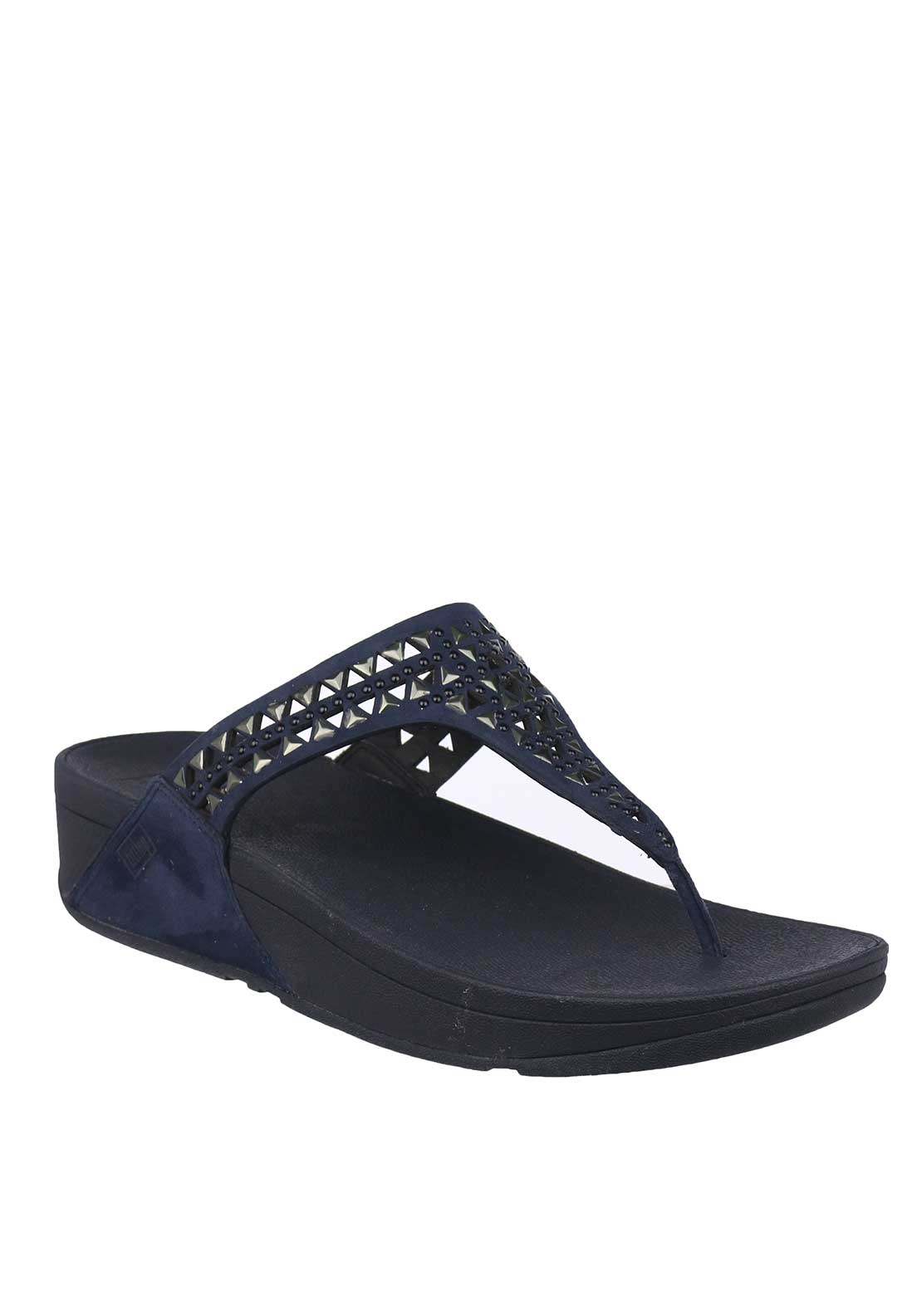 Fit Flop™ Carmel™ Suede Toe Thong Sandals, Navy