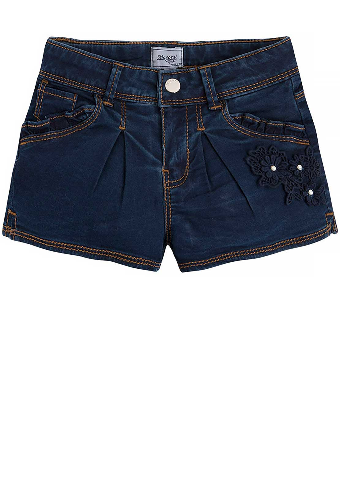 Mayoral Girls Embellished Stretch Denim Shorts, Dark Blue
