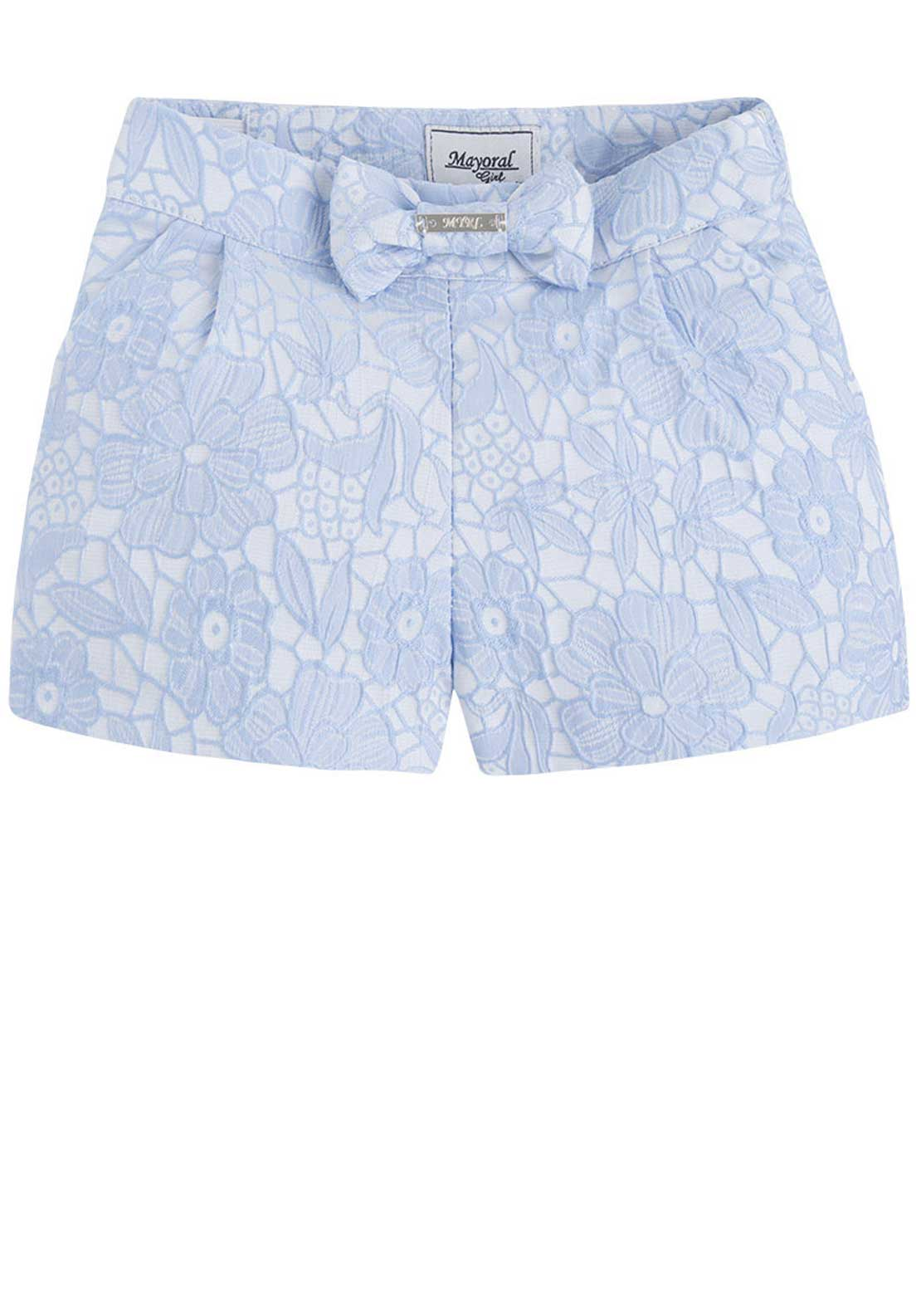 Mayoral Girls Embroidered Flower Print Shorts, Blue