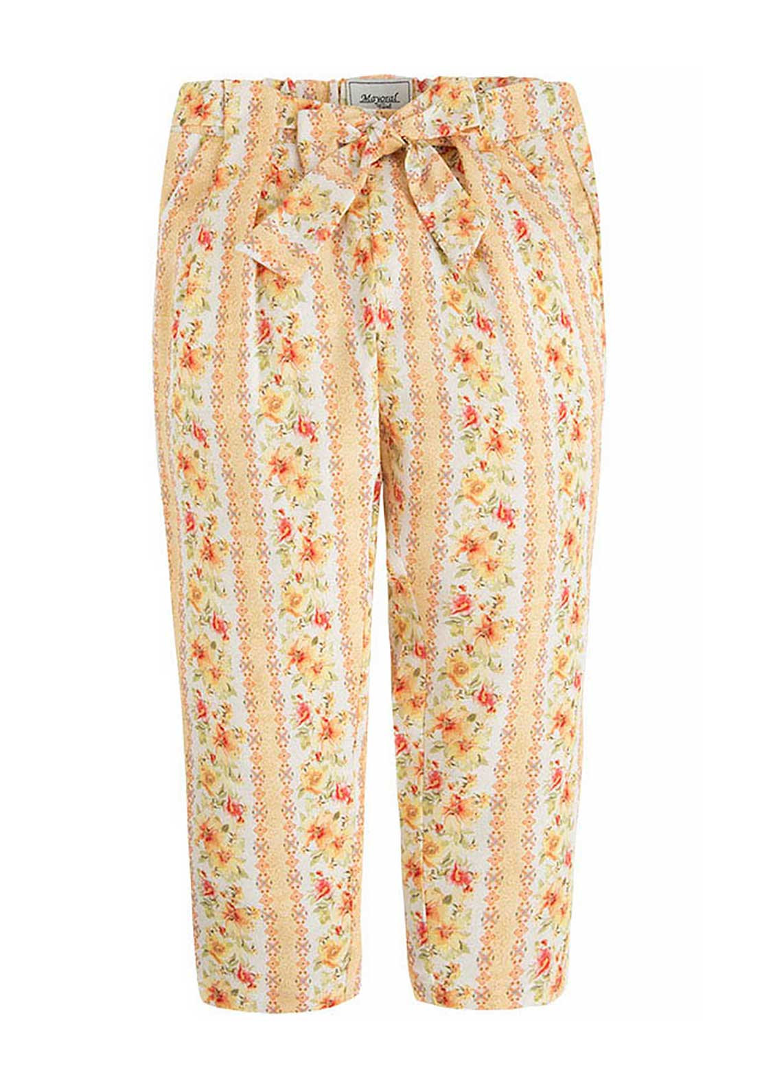 Mayoral Girls Floral Print Trousers, Vintage Yellow