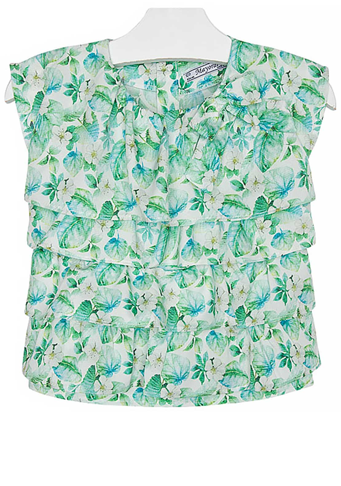 Mayoral Girls Frill Layered Floral Print Top, Green