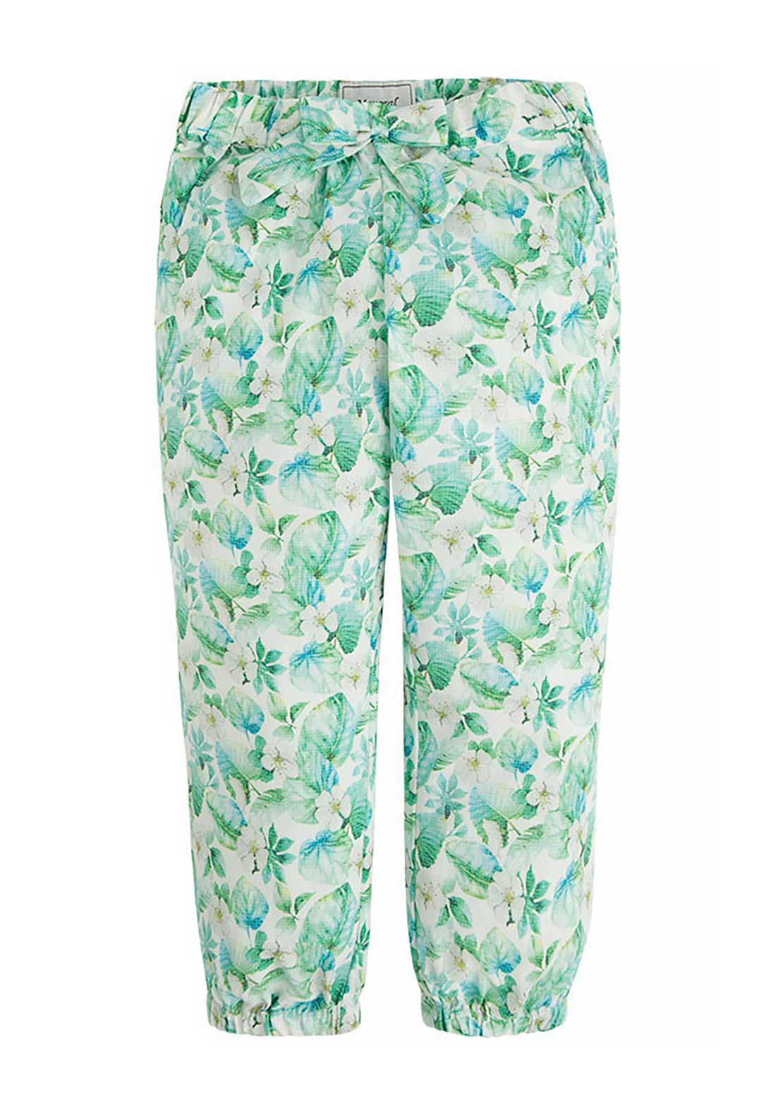 Mayoral Girls Floral Print Trousers, Green