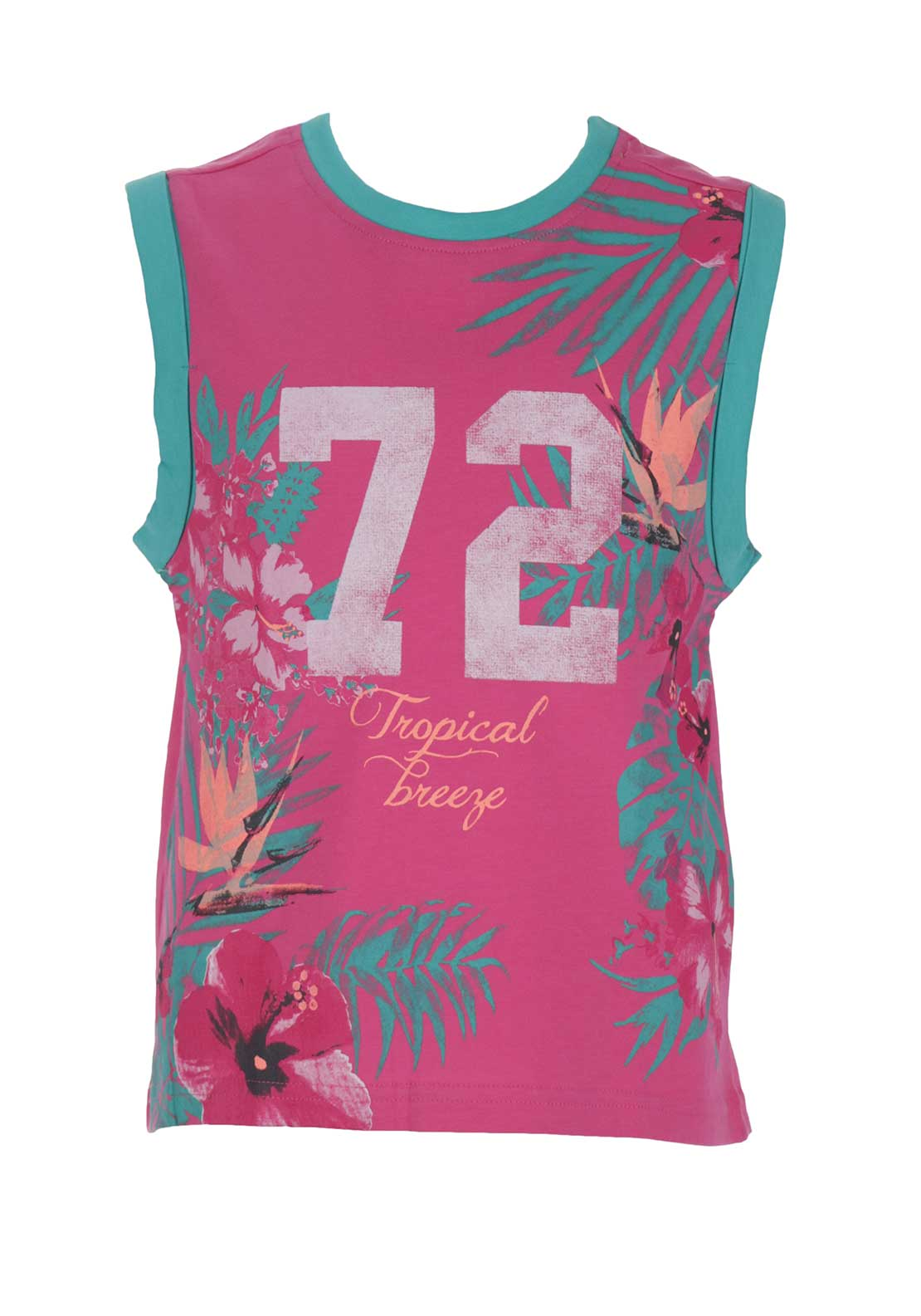 Blue Seven Girls Tropical Sleeveless Top, Pink
