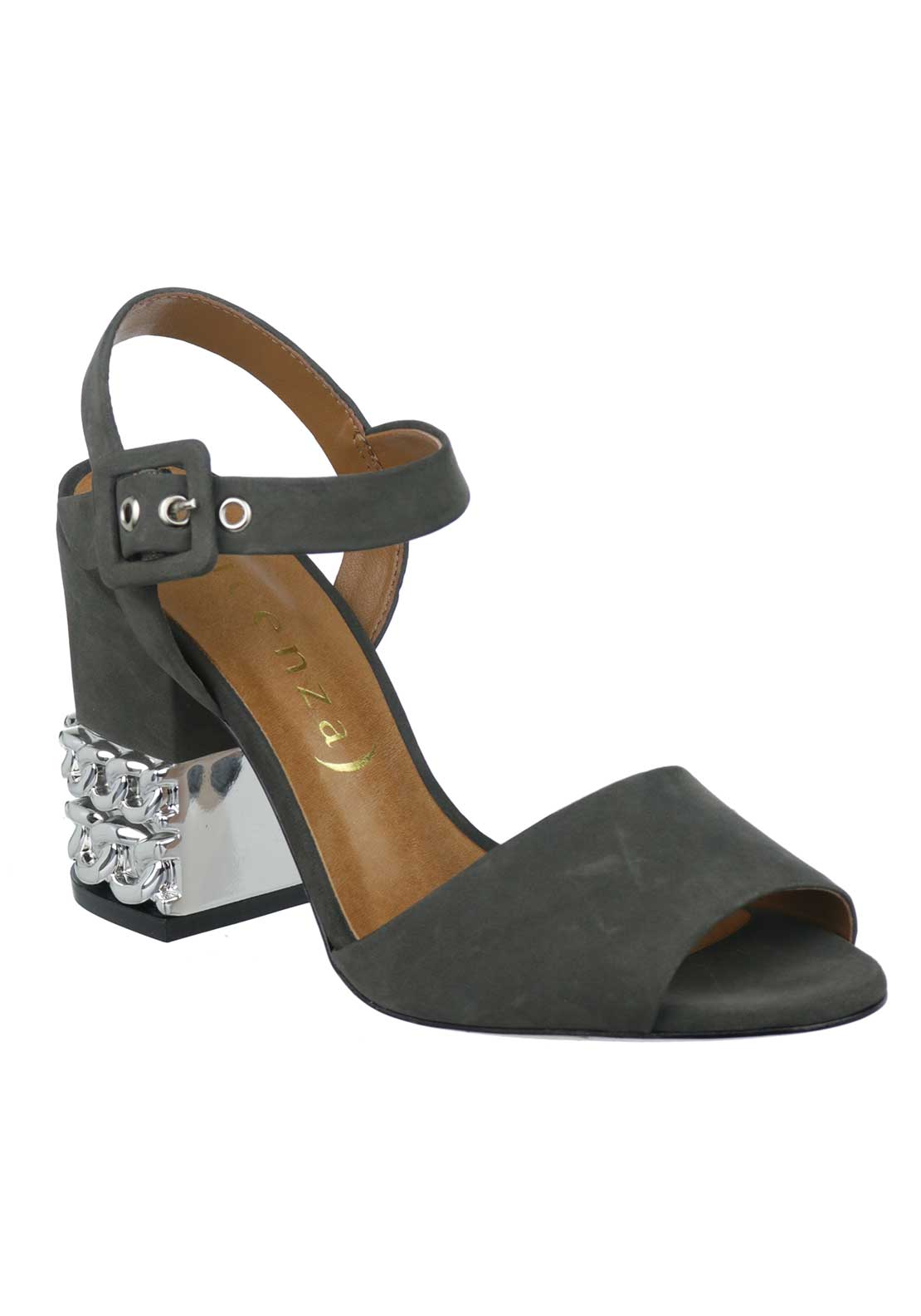 Unique Footwear Suede Chain Block Heeled Sandals, Grey