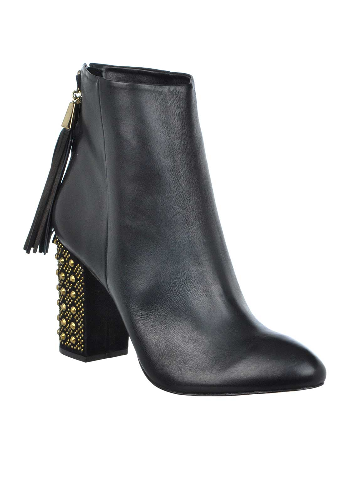 Unique Footwear Leather Jewell Embellished Block Heel Short Boots, Black
