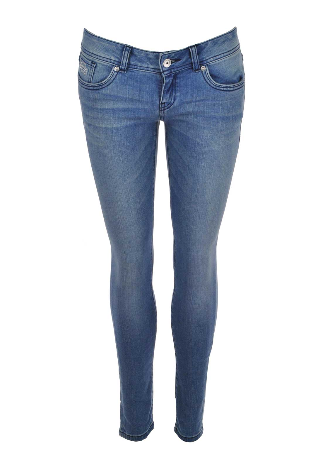Superdry Womens Low Rise Super Skinny Jeans, Sapphire Blue