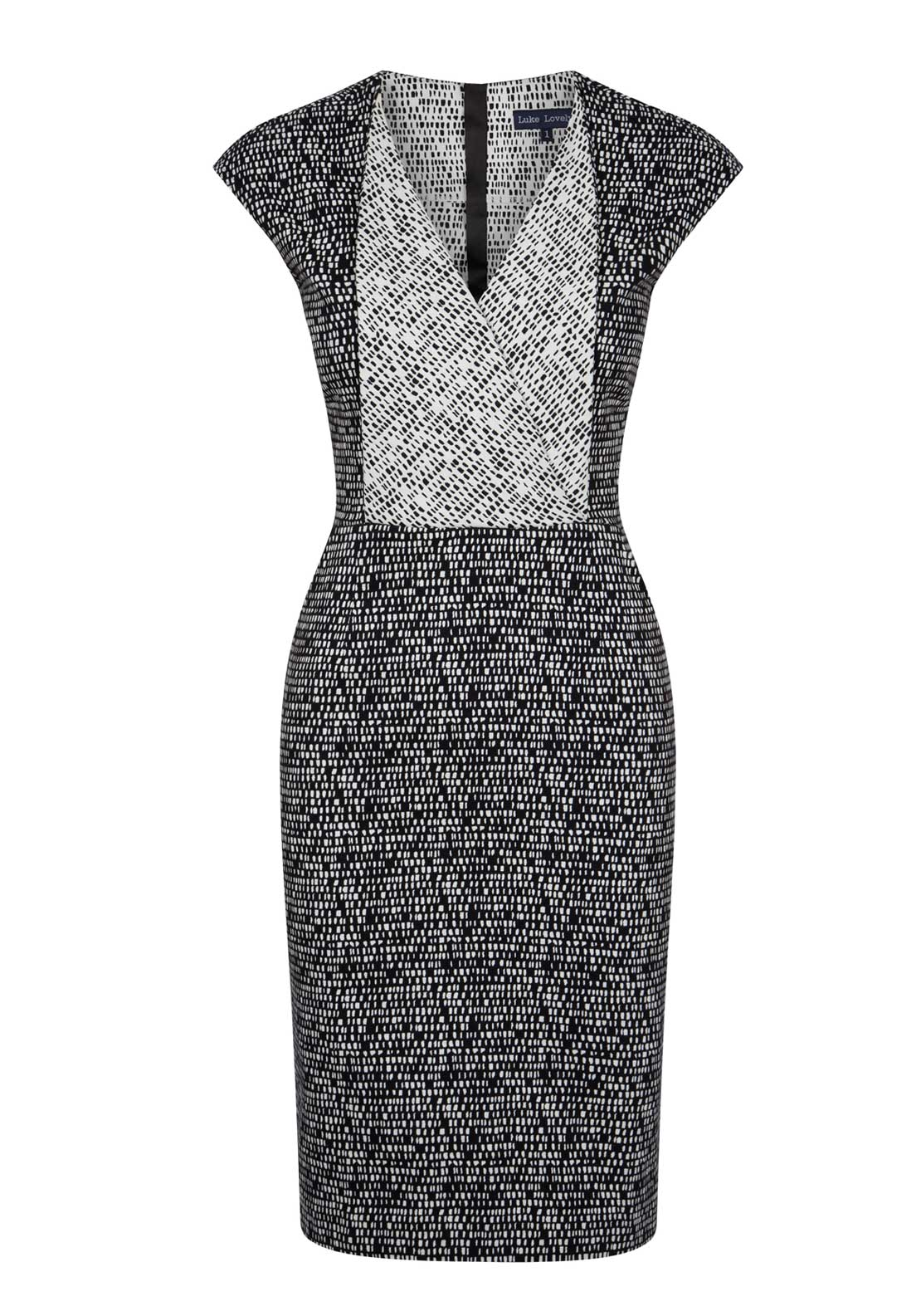 Luke Lovely Printed Contrast Panel Cap Sleeve Pencil Dress, Black and Cream