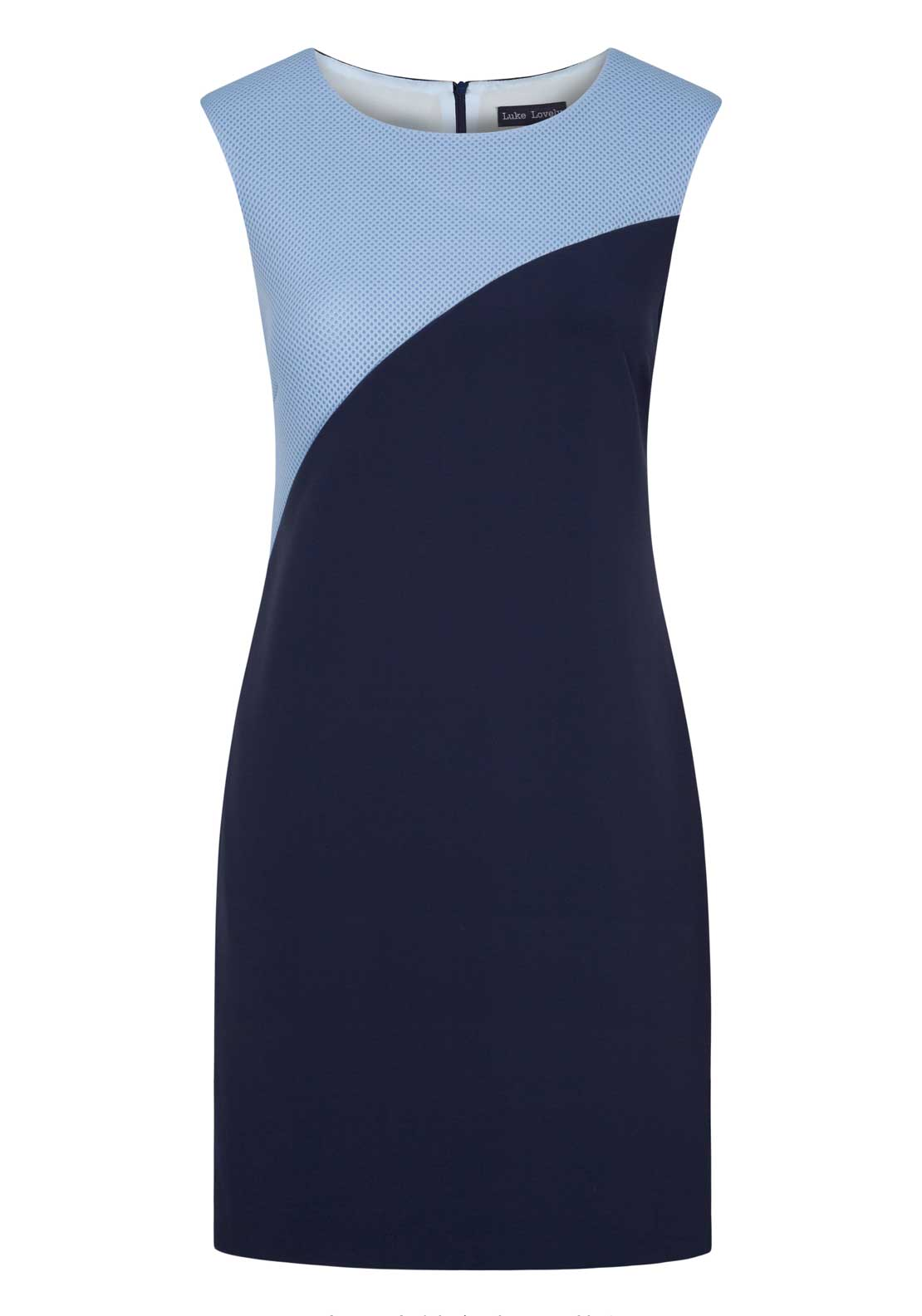 Luke Lovely Contrast Panel Sleeveless Shift Dress, Navy