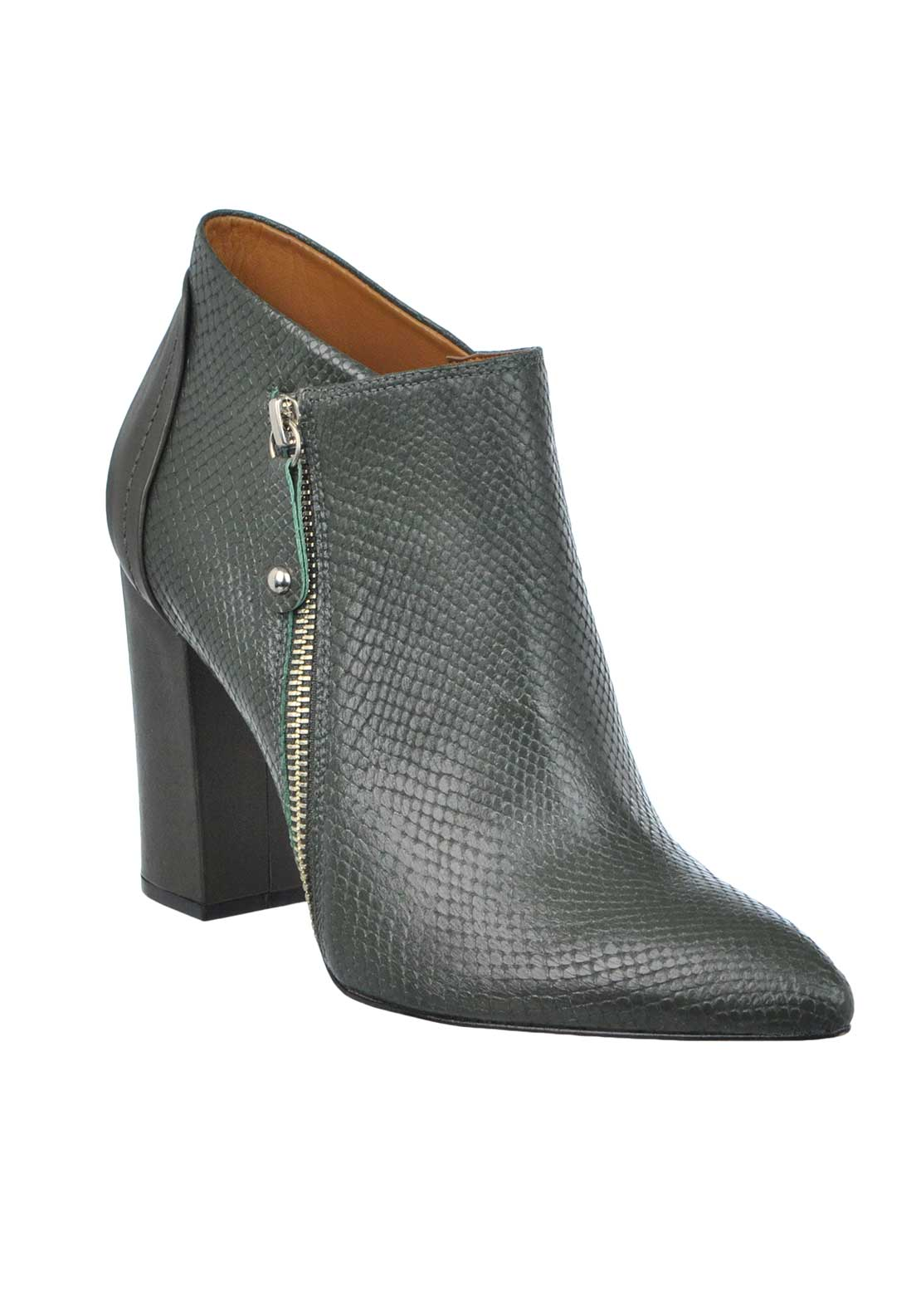 Unique Footwear Leather Reptile Print Pointed Toe Block Heeled Boots, Green