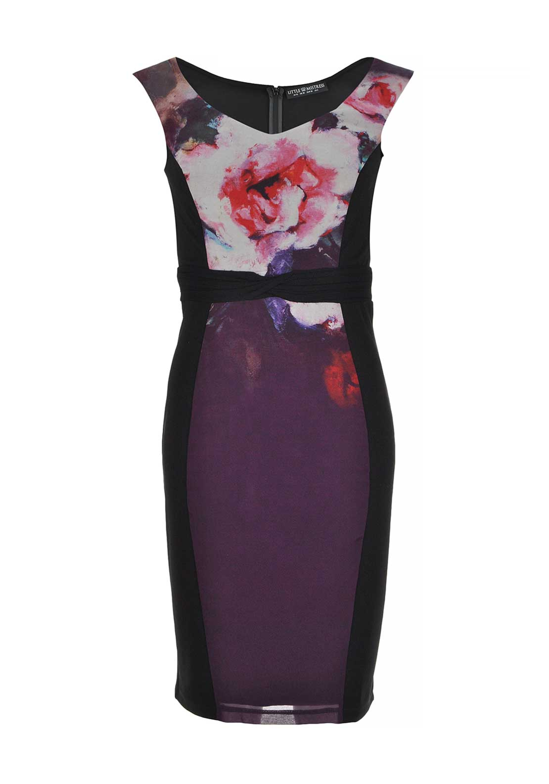Little Mistress by Look Magazine Rose Print Bandeau Bodycon Dress, Purple Multi