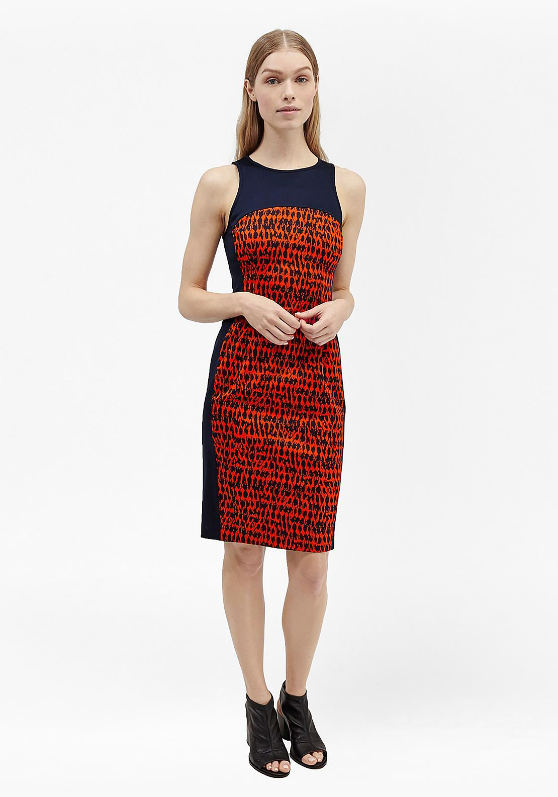French Connection Canyon Sand Printed Bodycon Dress, Navy and Red